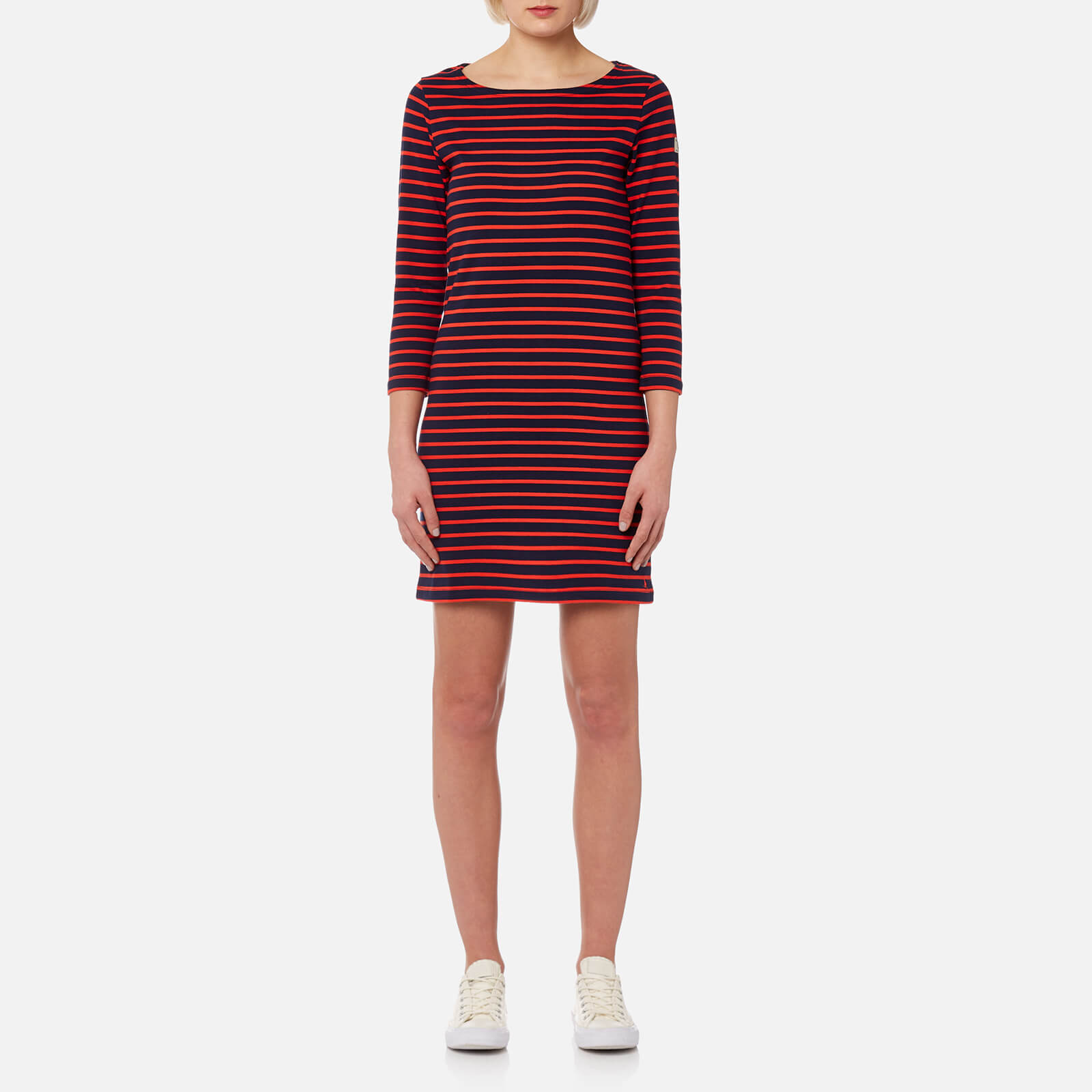 11a7a6a84851 Joules Women's Riviera 3/4 Sleeve Jersey Dress - Navy Red Stripe Womens  Clothing | TheHut.com