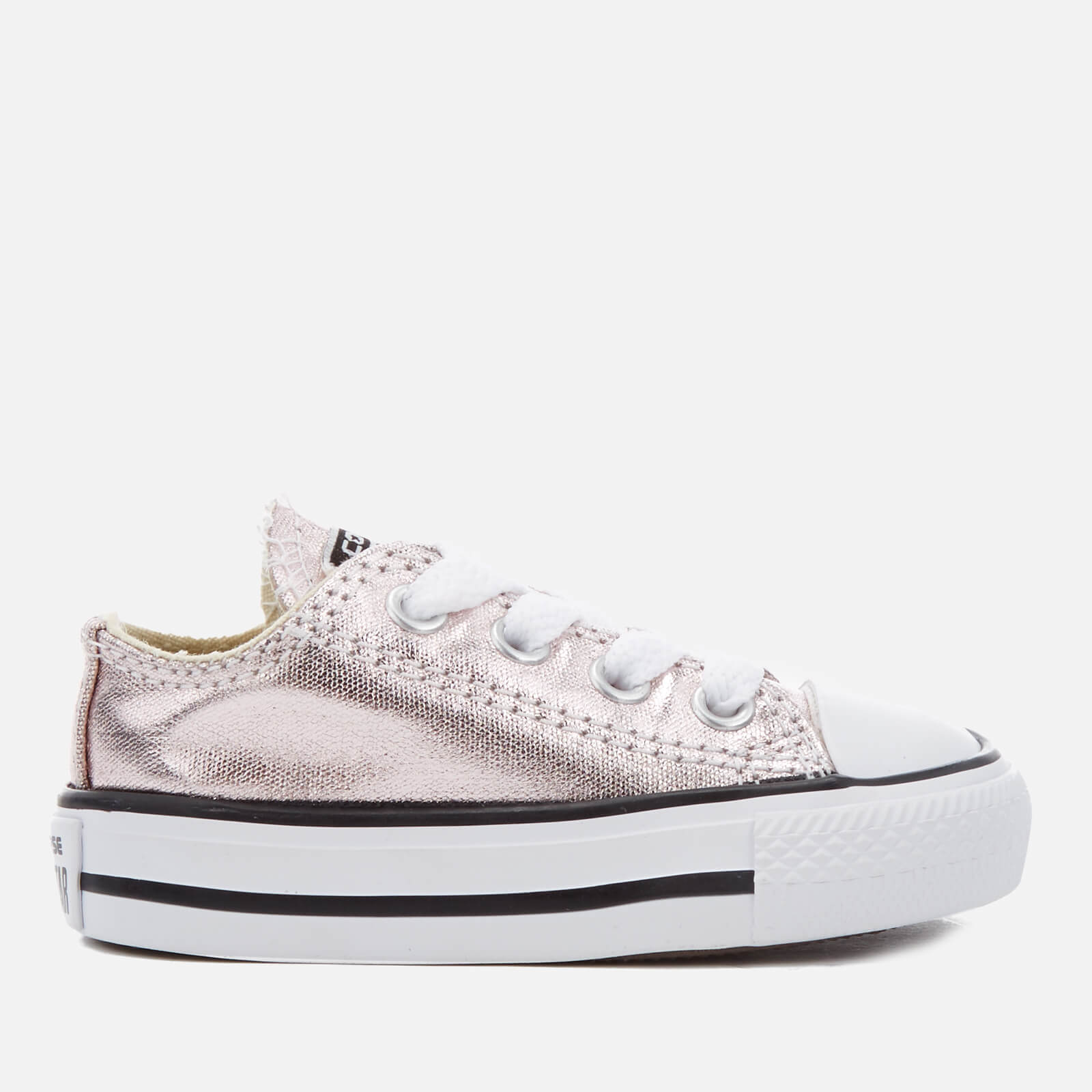 8b147c90a39ca0 Converse Toddlers  Chuck Taylor All Star Metallic Ox Trainers - Rose Quartz  White Black Clothing
