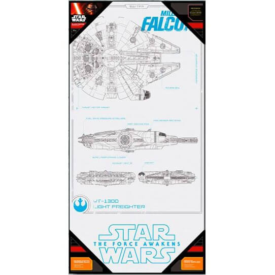 Star Wars Episode VII Glass Poster - Millennium Falcon (50 x 25cm)