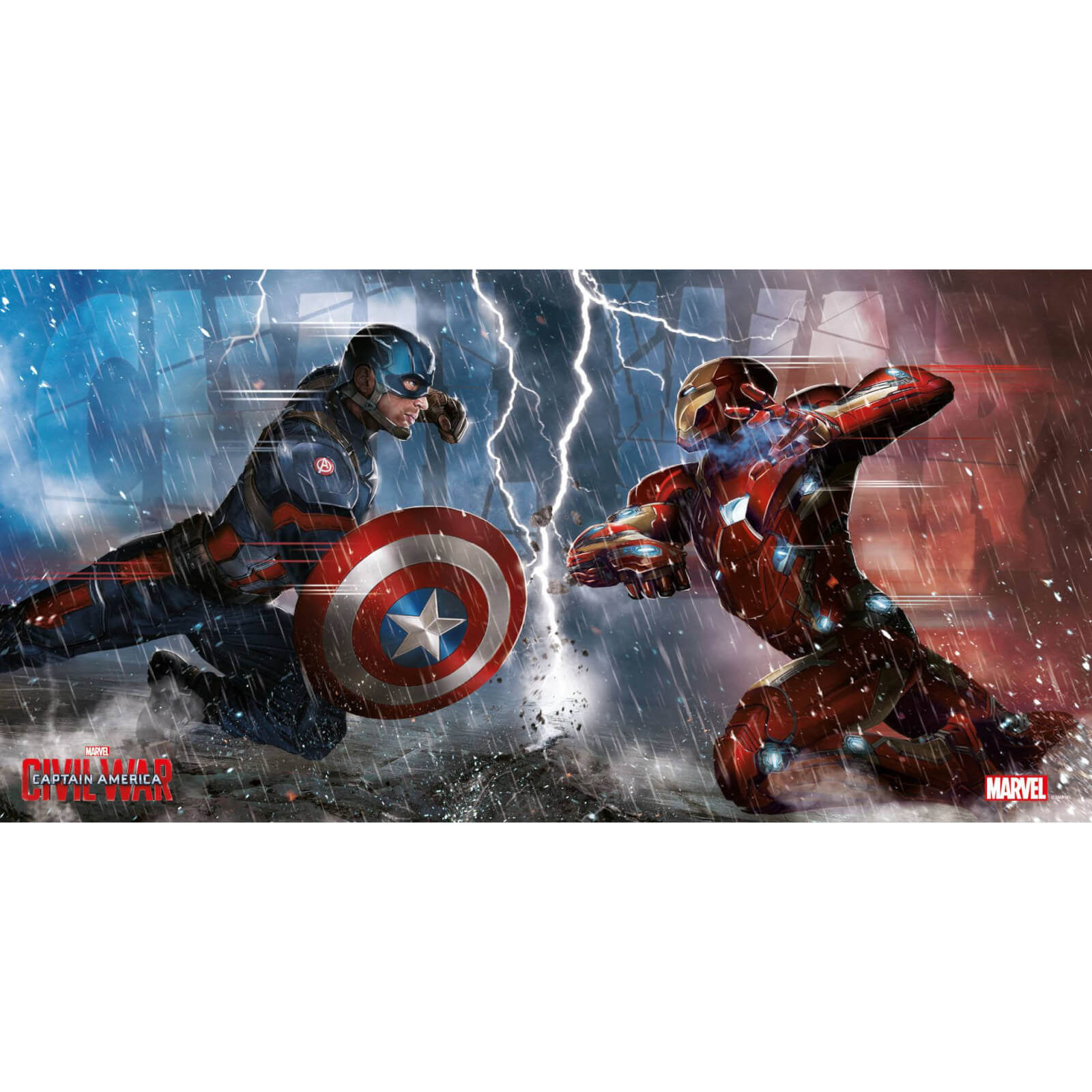 Captain America Civil War Glass Poster - Duel (60 x 30cm)