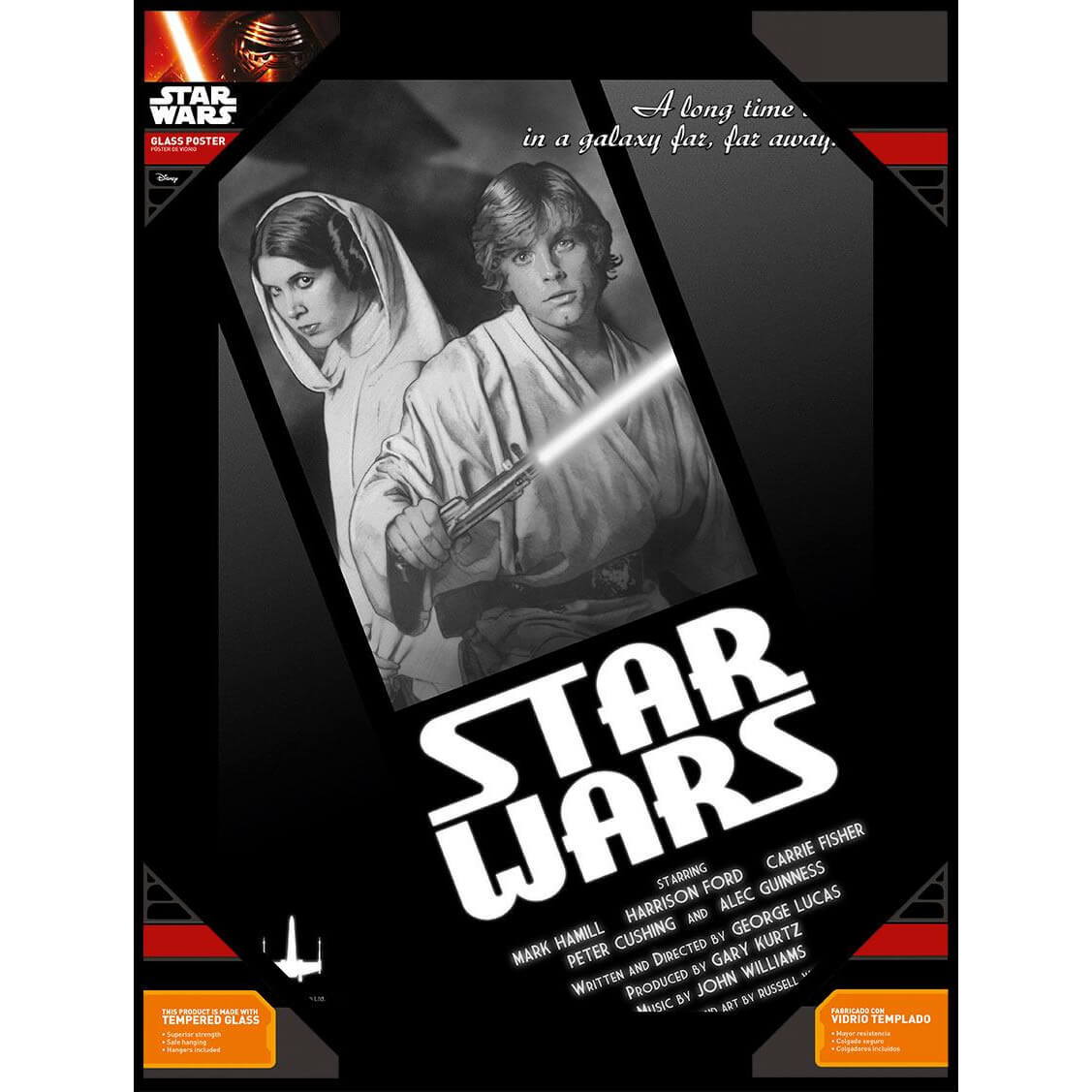 Star Wars Glass Poster - Luke Skywalker and Princess Leia in Black and White (30 x 40cm)