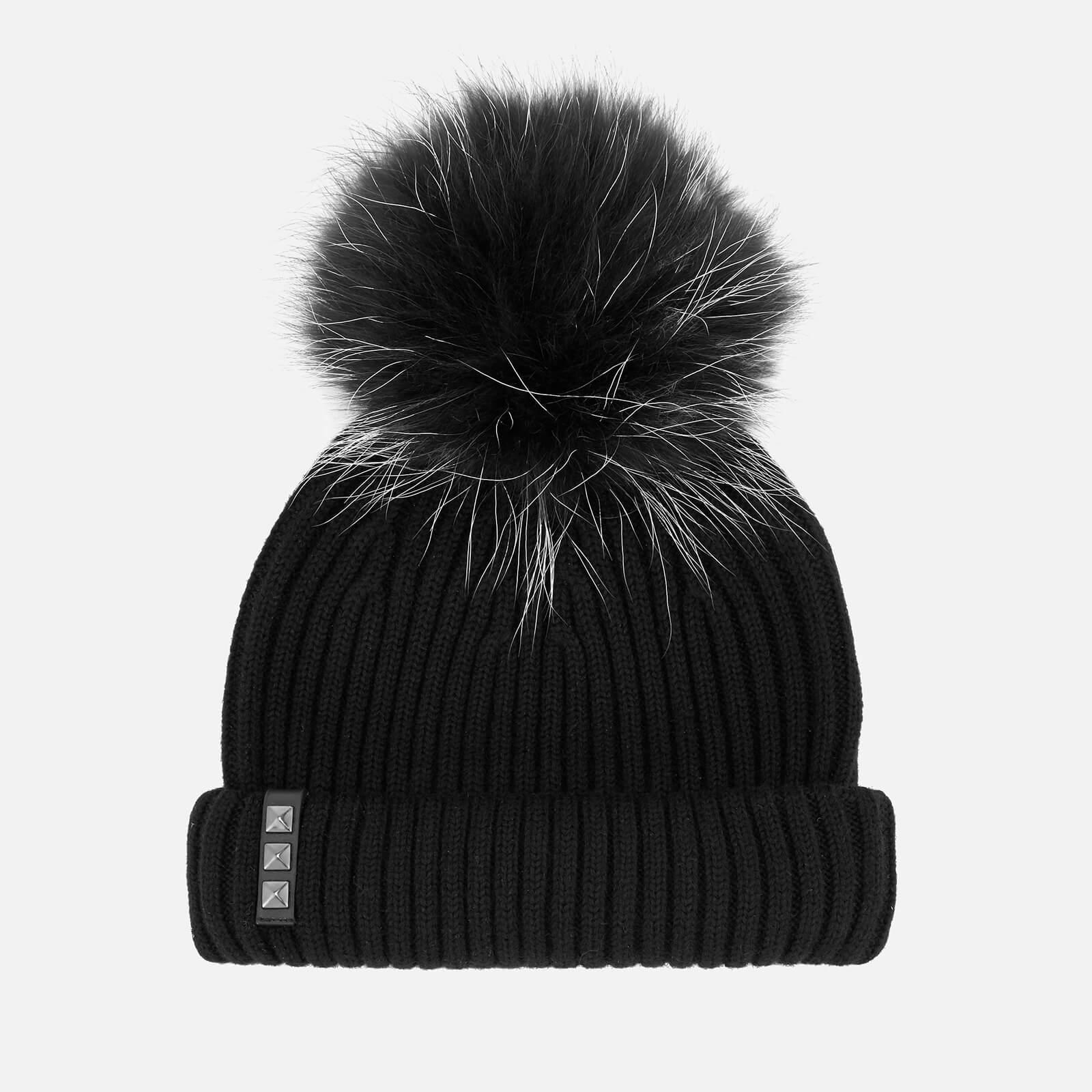 6bd0da8e6 BKLYN Women's Merino Wool Hat with Black/White Pom Pom - Black