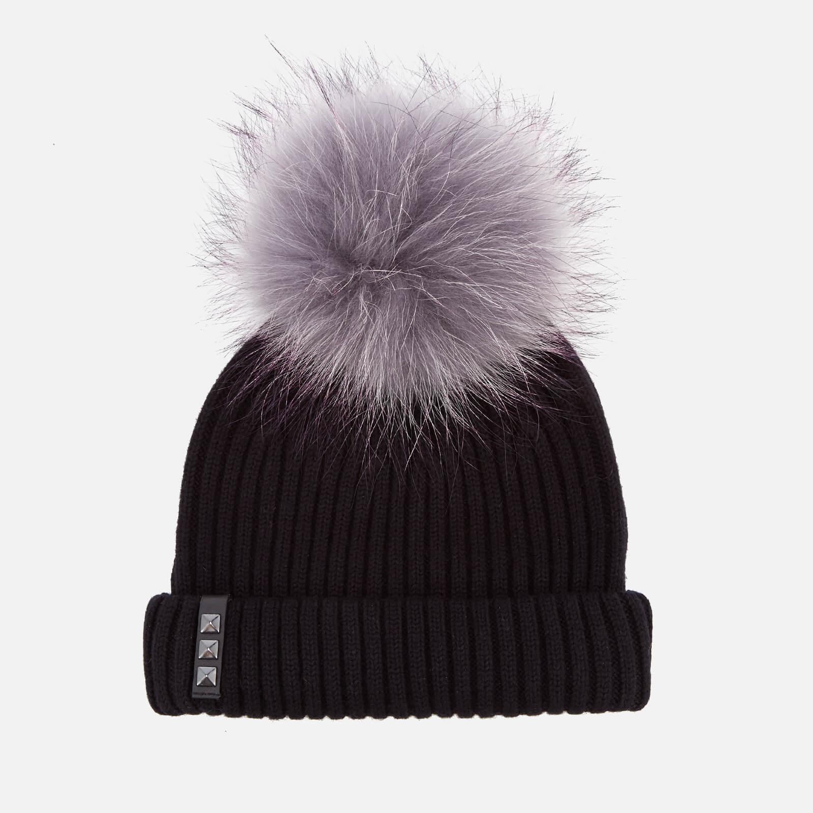 33ae7c2ffba BKLYN Women s Merino Wool Hat with Grey Purple Pom Pom - Black Womens  Accessories