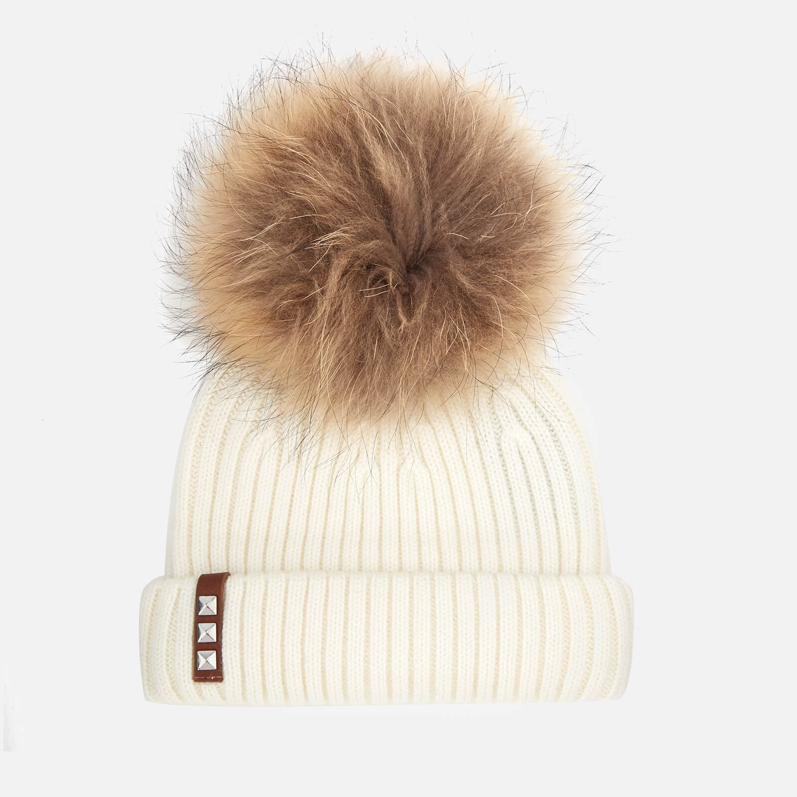 ad49f91d5 BKLYN Women's Merino Wool Hat with Natural Pom Pom - Off White