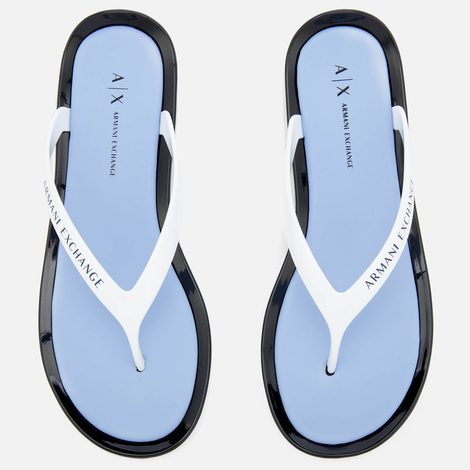 447140c98 Armani Exchange Women s PVC Flip Flops - Obsidian Serenity White Womens  Accessories
