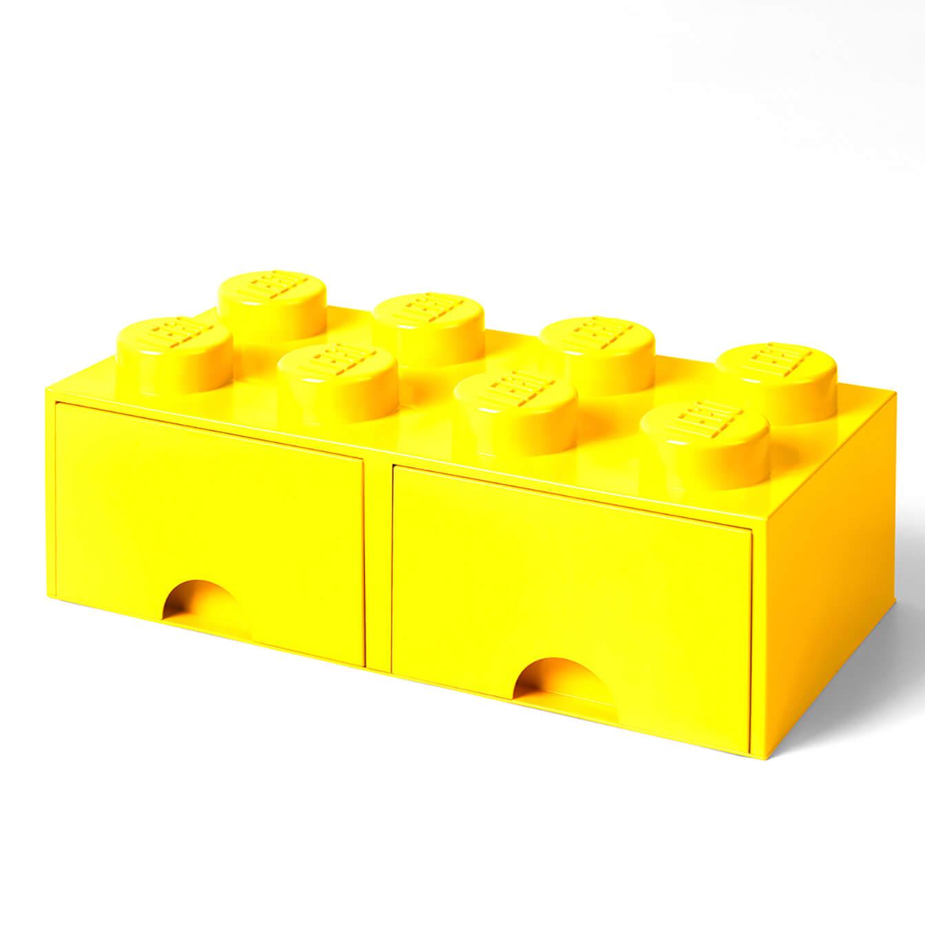 LEGO Storage 8 Knob Brick   2 Drawers (Bright Yellow)