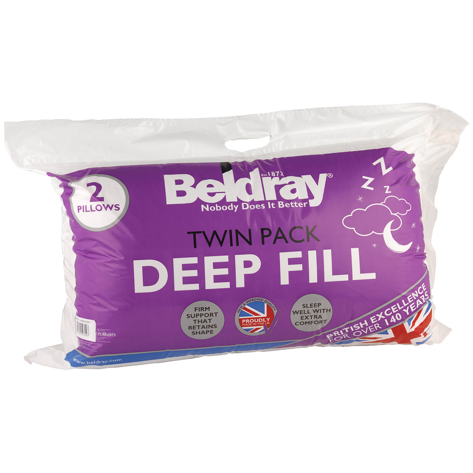 Beldray Deep Fill Twin Pack Pillows - White