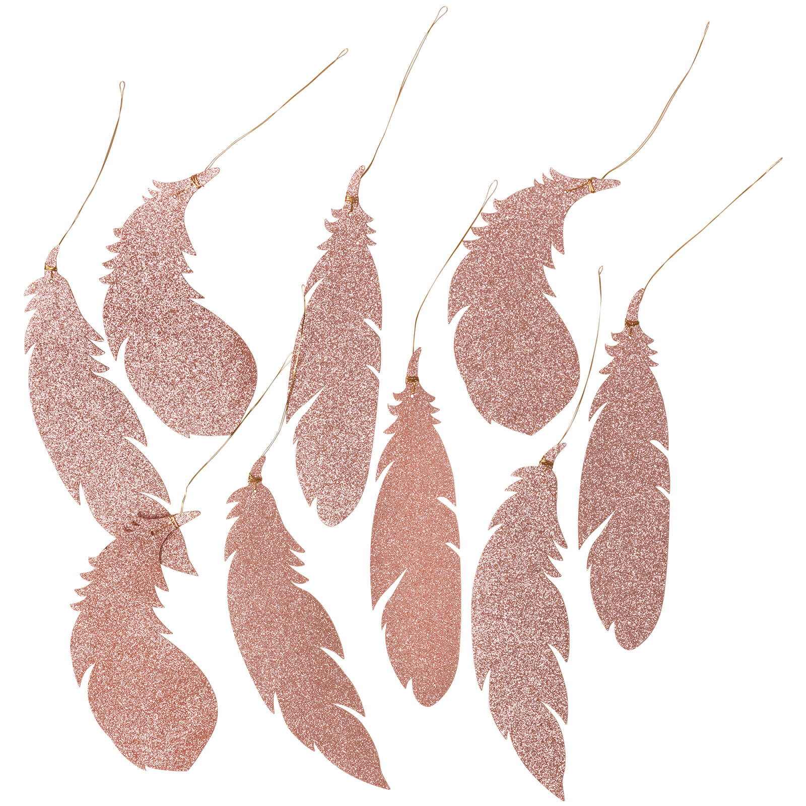 Broste Copenhagen Feather Christmas Decorations - Rose Gold (Set of 9)