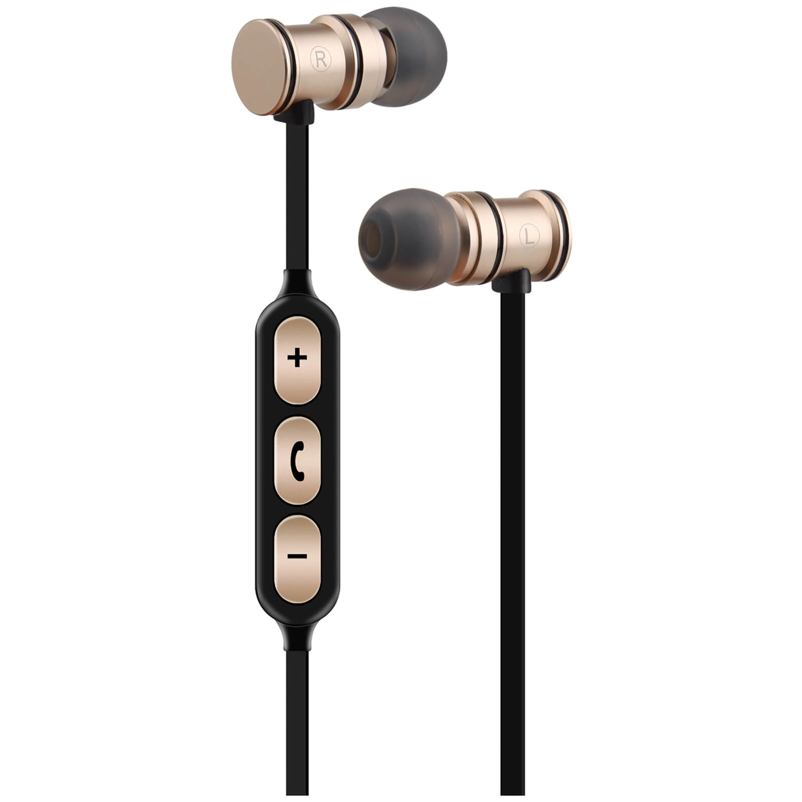 AV: Link Metallic Magnetic Bluetooth Earphones with Tangle Free Cable - Gold