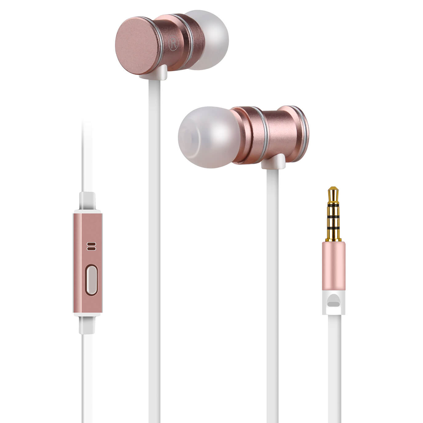 d98b7006993 AV: Link Metallic Magnetic Stereo Noise Cancelling Earphones with Tangle  Free Cable - Rose Gold Electronics | Zavvi