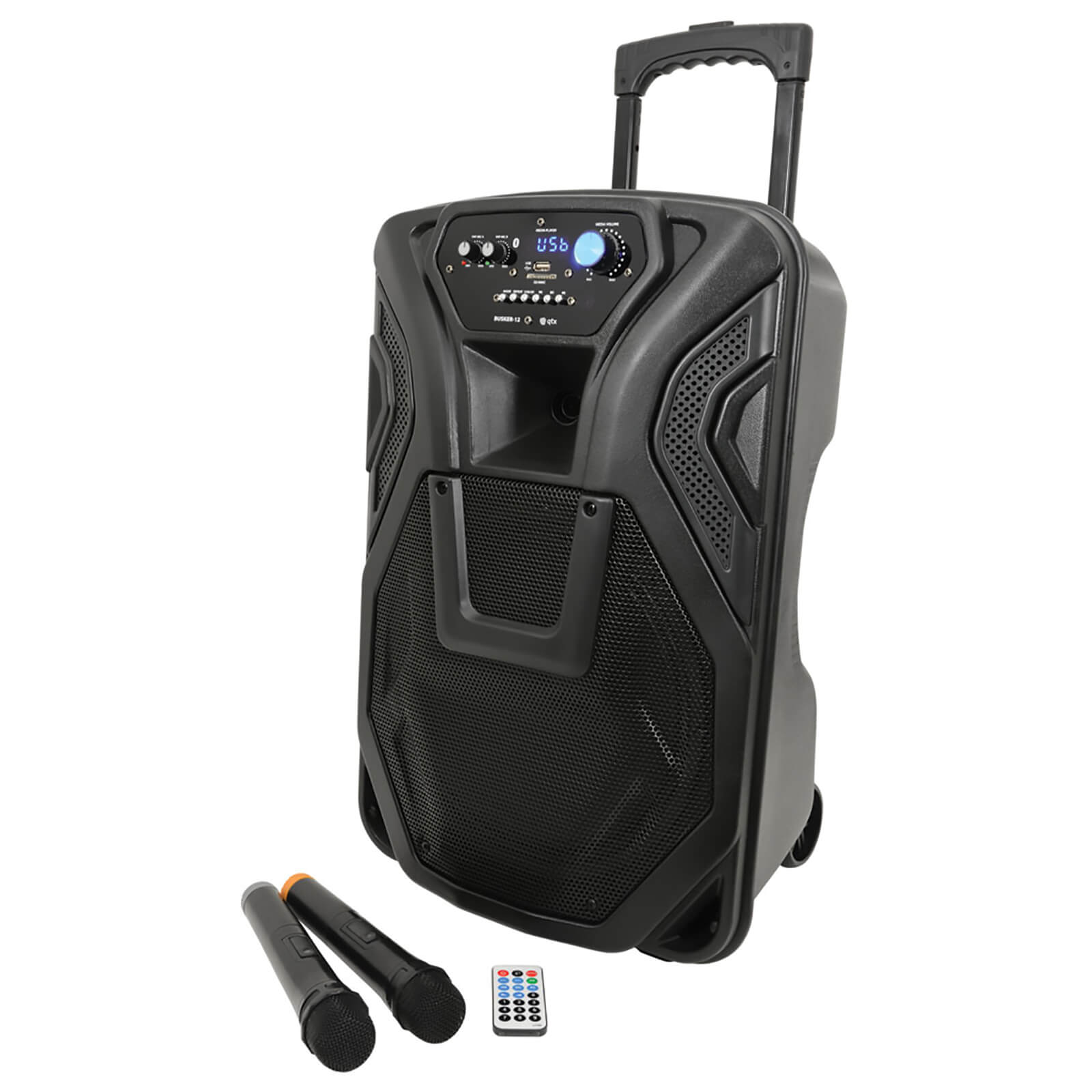 QTX Busker Bluetooth PA System with 2x VHF Mics and Built-in Trolley - Black (12 Inch Driver)