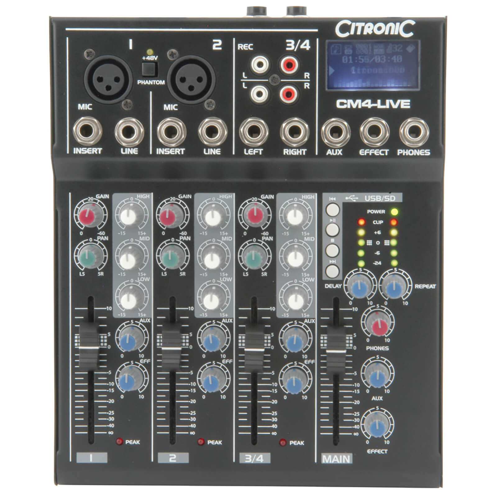 Citronic CM4-live Compact Mixer (Delay/USB/SD Player/4 Channel)