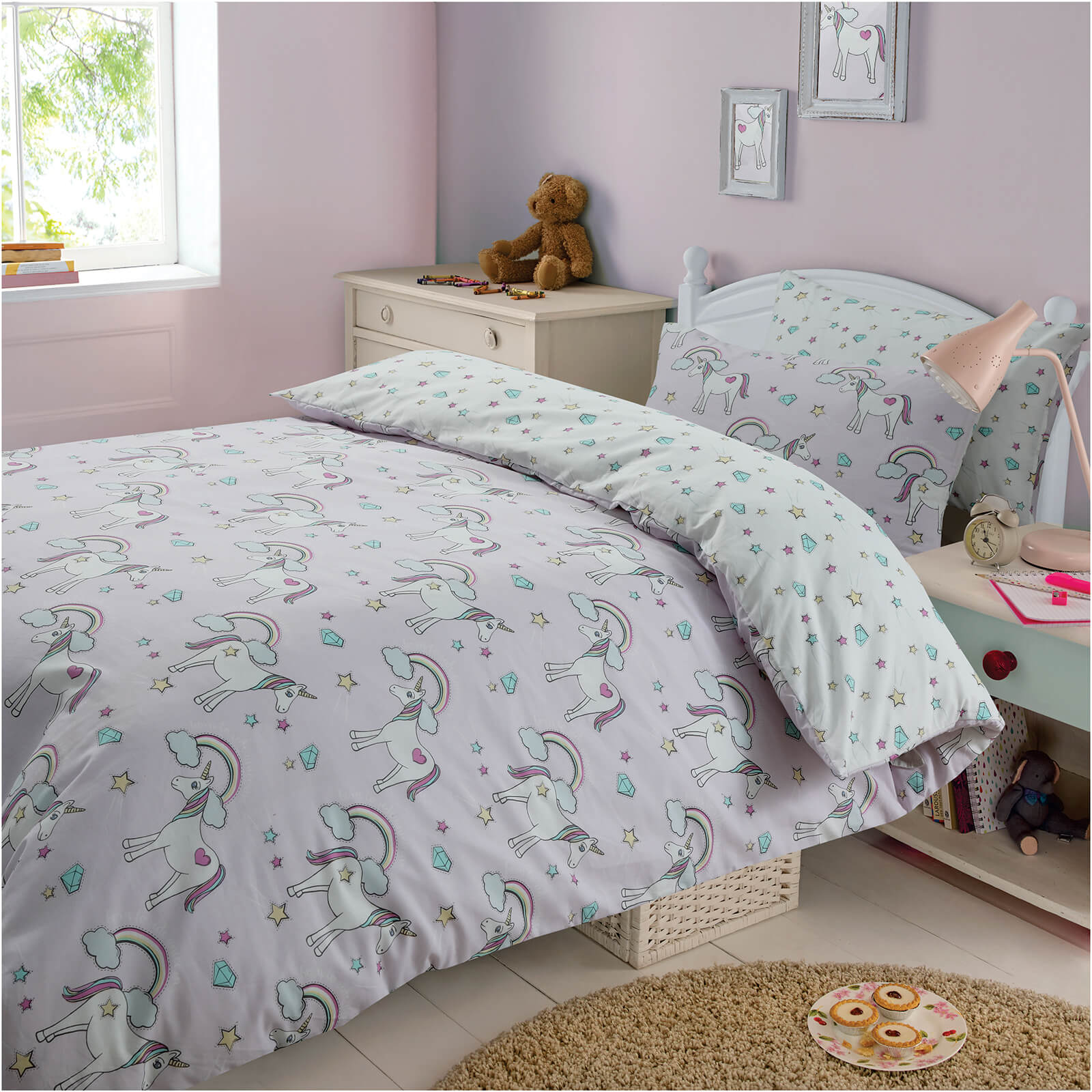 Dreamscene Magical Unicorn Duvet Set - Purple