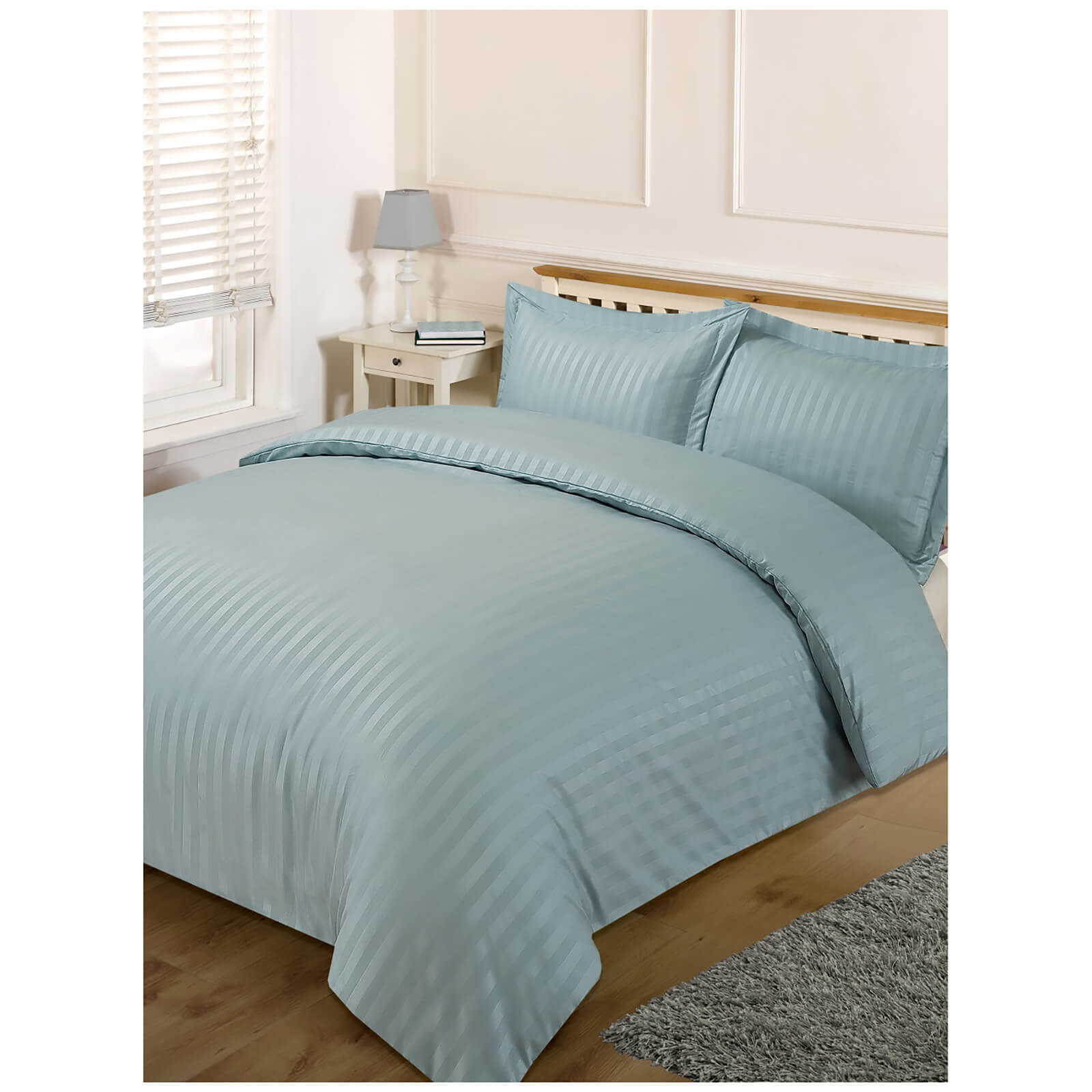 Brentfords Satin Stripe Duvet Set - Duck Egg