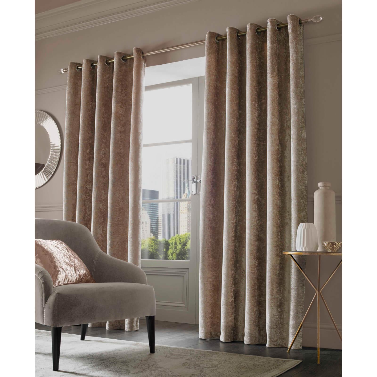 Sienna Eyelet Crushed Velvet Curtains Natural Homeware Zavvi Us