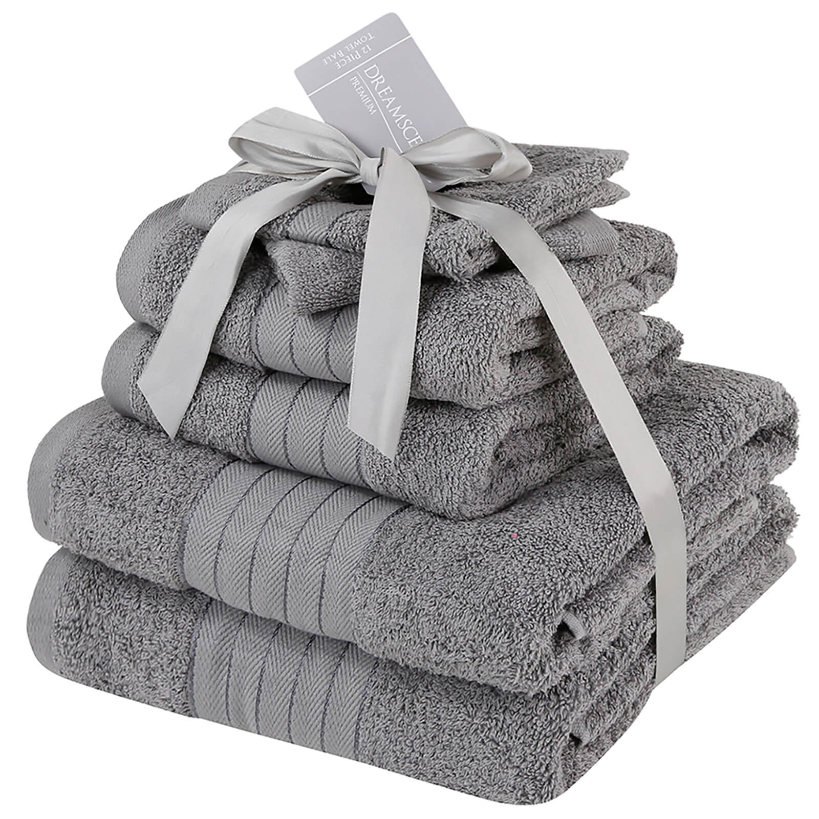 Highams 100% Cotton 6 Piece Towel Bale (500GSM) - Grey