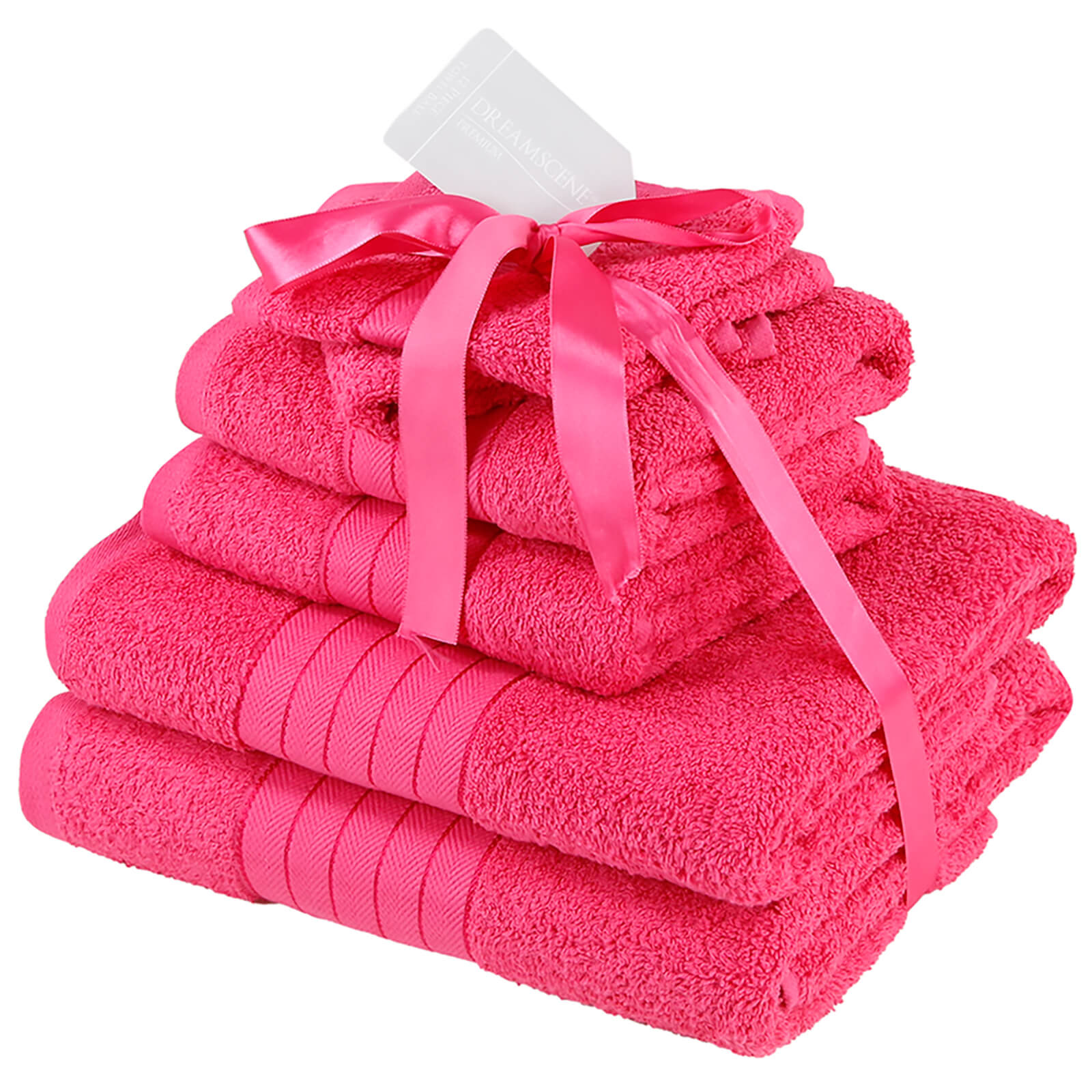 Highams 100% Cotton 6 Piece Towel Bale (500GSM) - Fuchsia