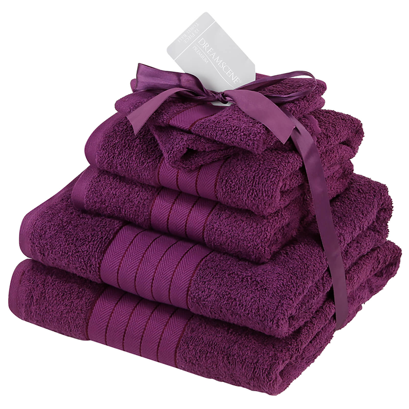 Highams 100% Cotton 6 Piece Towel Bale (500GSM) - Purple