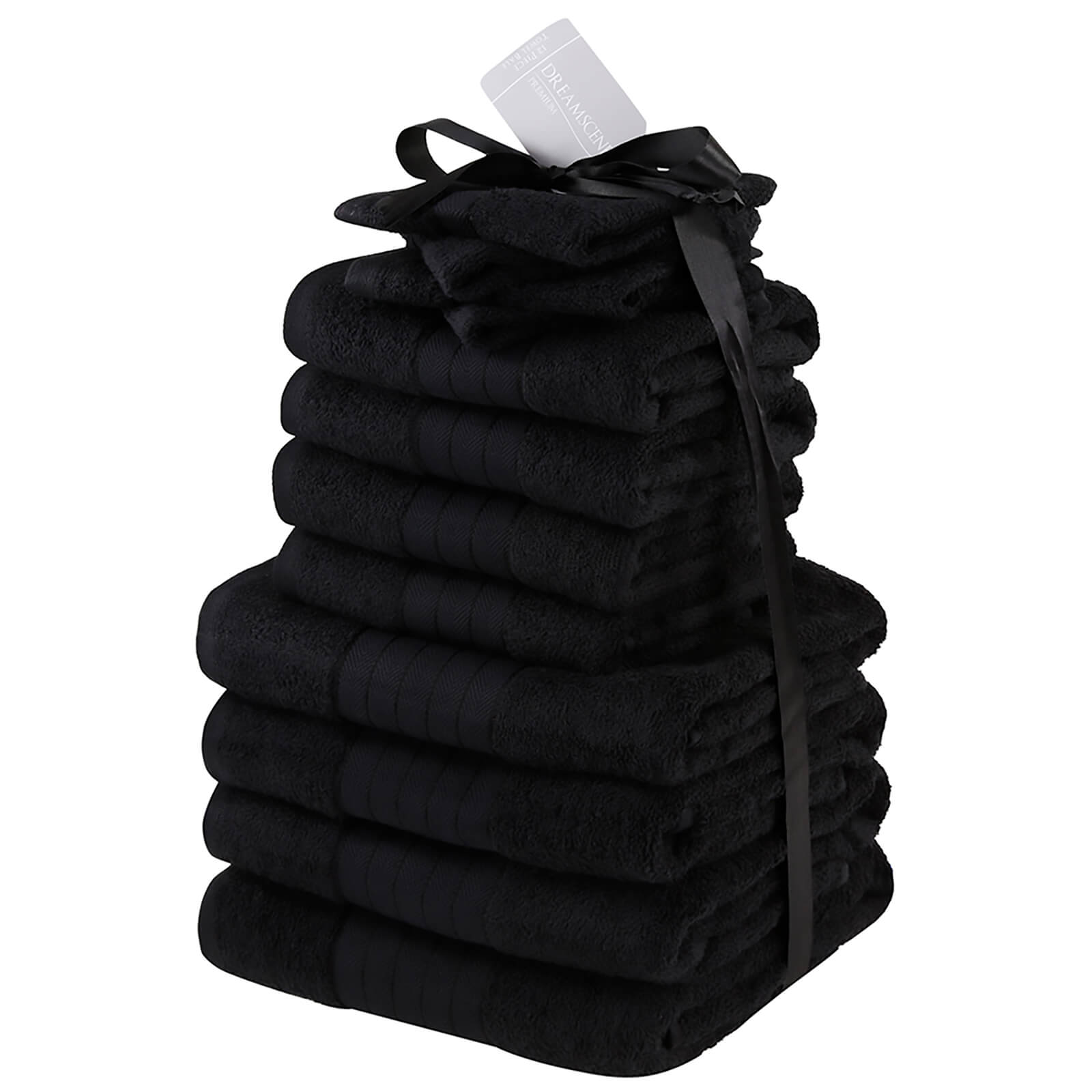 Highams 100% Cotton 12 Piece Towel Bale (500GSM) - Black