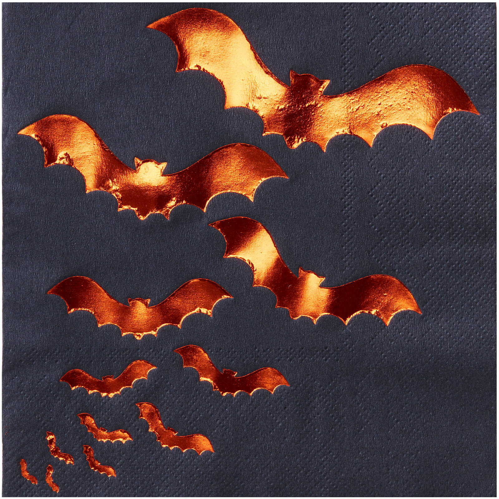 Ginger Ray Orange Foiled Bat Design Paper Napkins - Pumpkin Party
