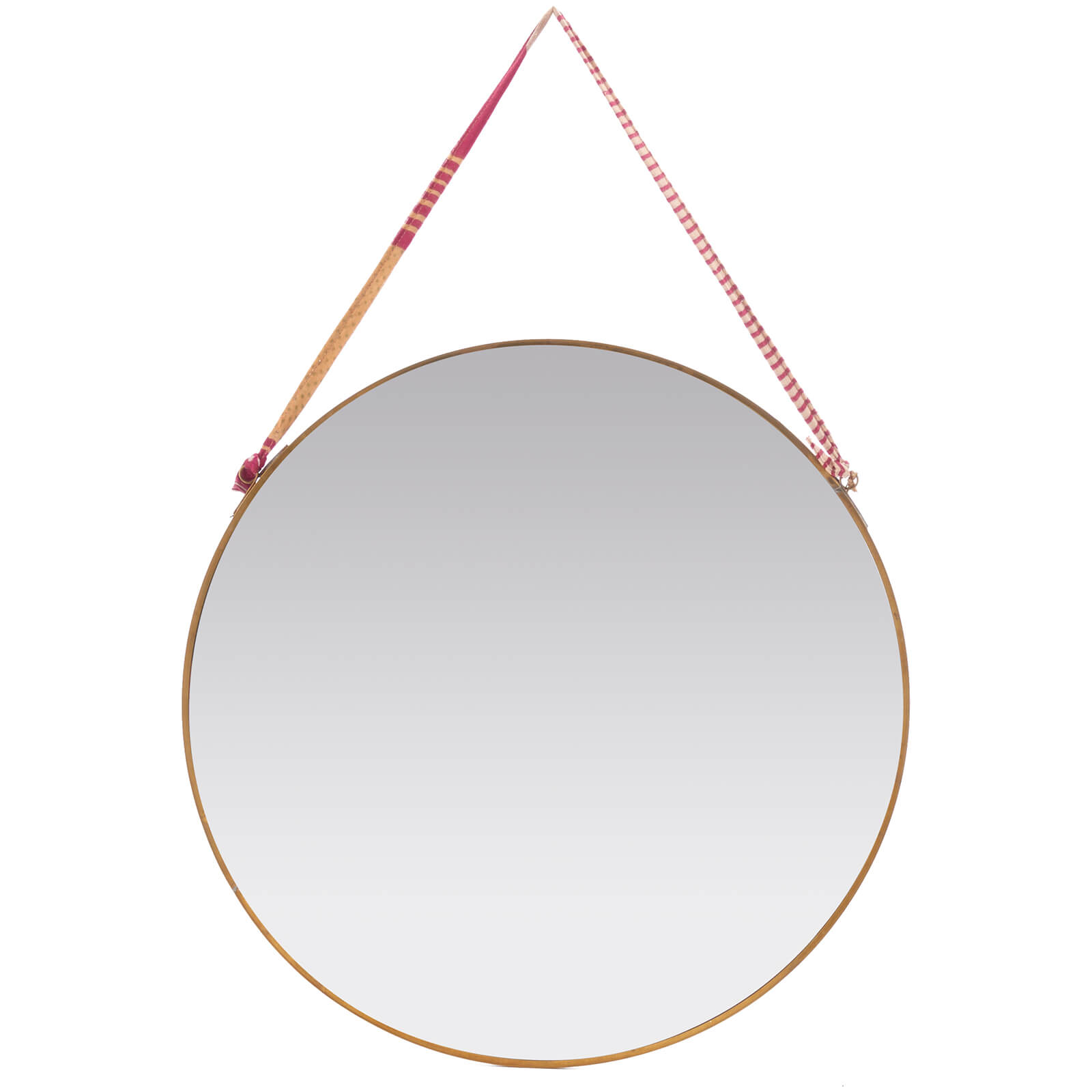 Nkuku Kiko Round Mirror Antique Brass Large Free Uk Delivery Available