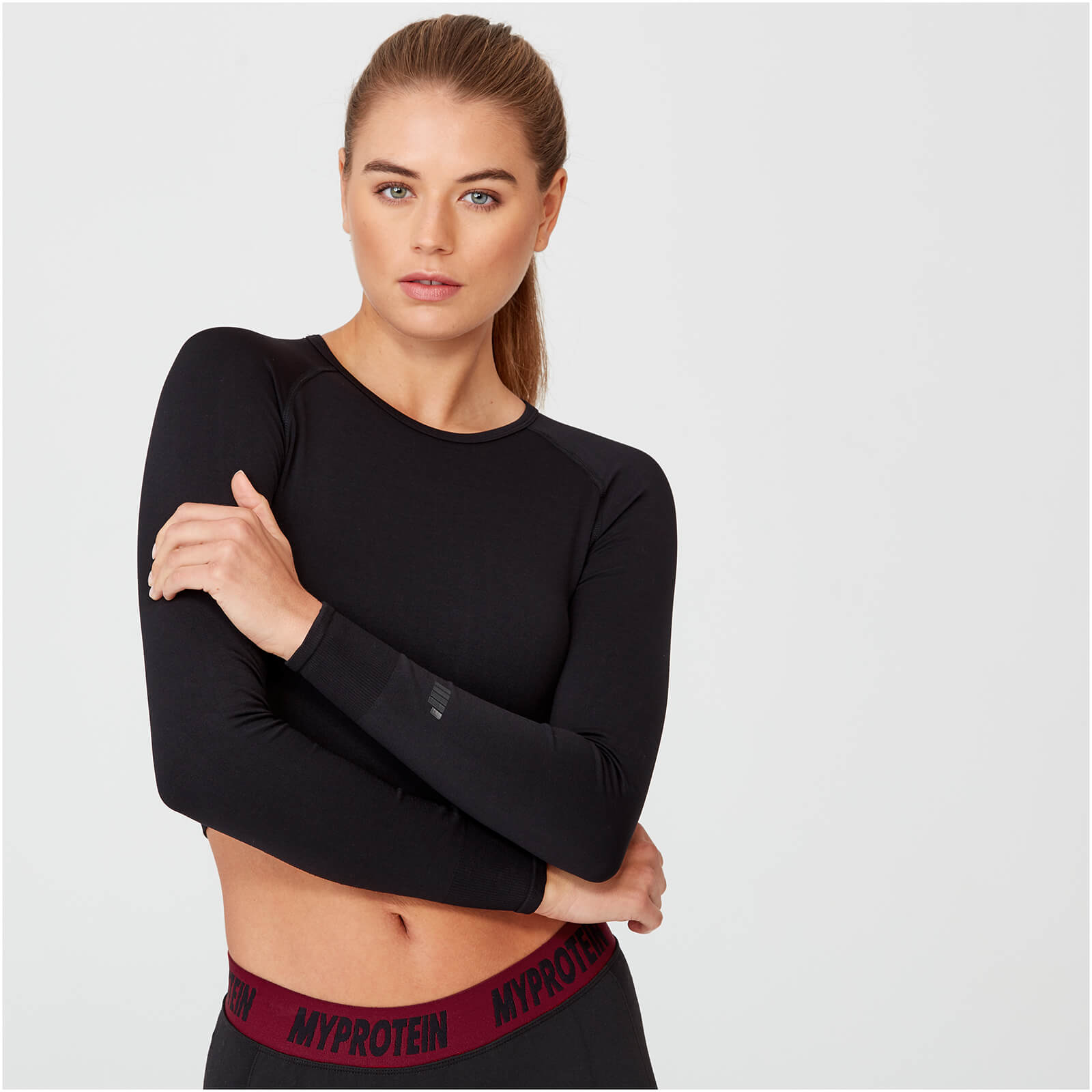 Shape Seamless Crop Top - Black - L