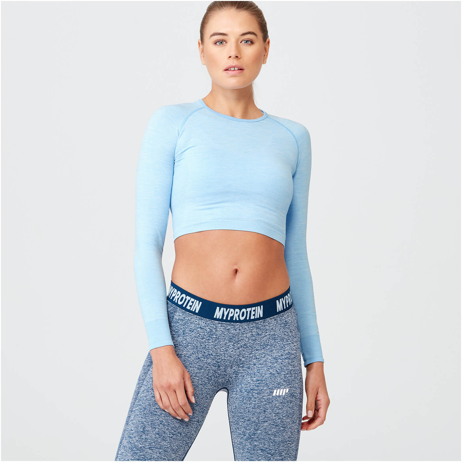 Shape Seamless Crop Top - Light Blue Marl - XS