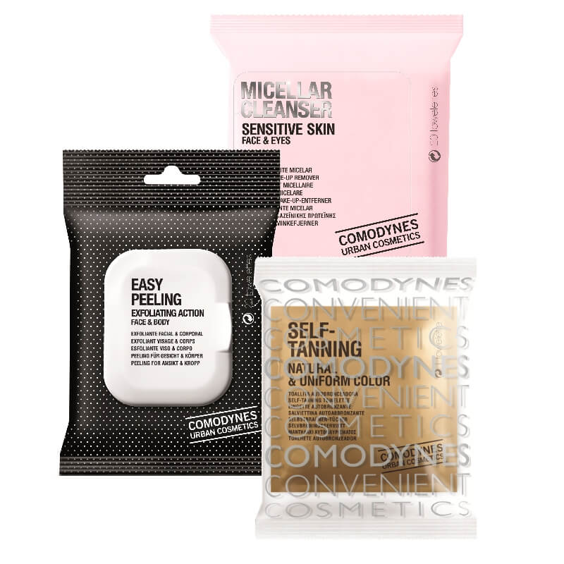 Comodynes Make-Up Remover Micellar Solution Sensitive Skin (1) + Easy Peeling Face & Body (2) + Self-Tanning Natural & Uniform Color (3)
