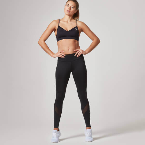 The Black Mesh Heartbeat Outfit - Leggings - S - Bra - XL