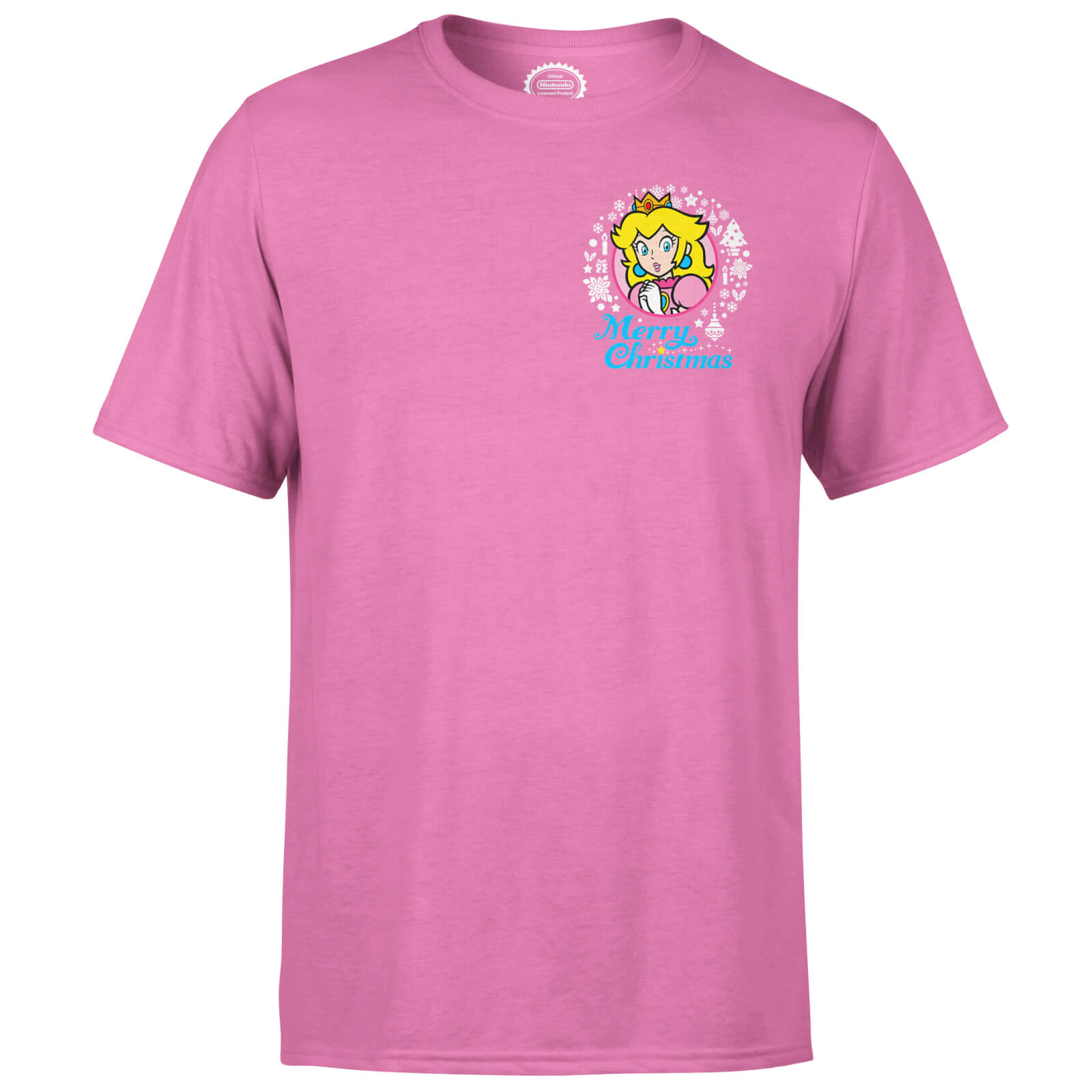 Nintendo Super Mario Peach Merry Christmas Pocket Wreath Pink T-Shirt