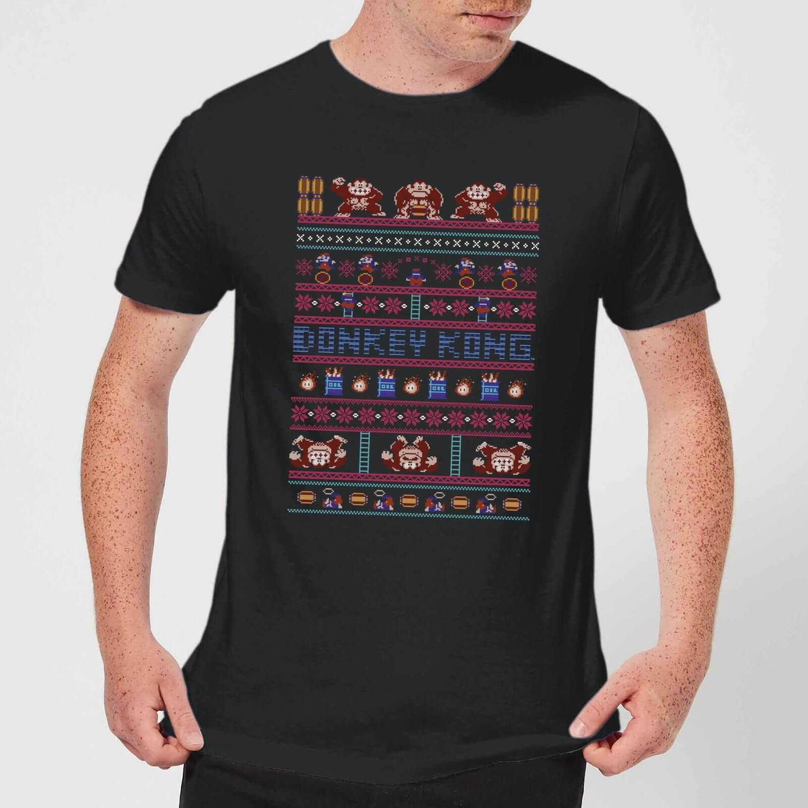 491ed122e36554 Nintendo Donkey Kong Retro Christmas Pattern Black T-Shirt Clothing ...