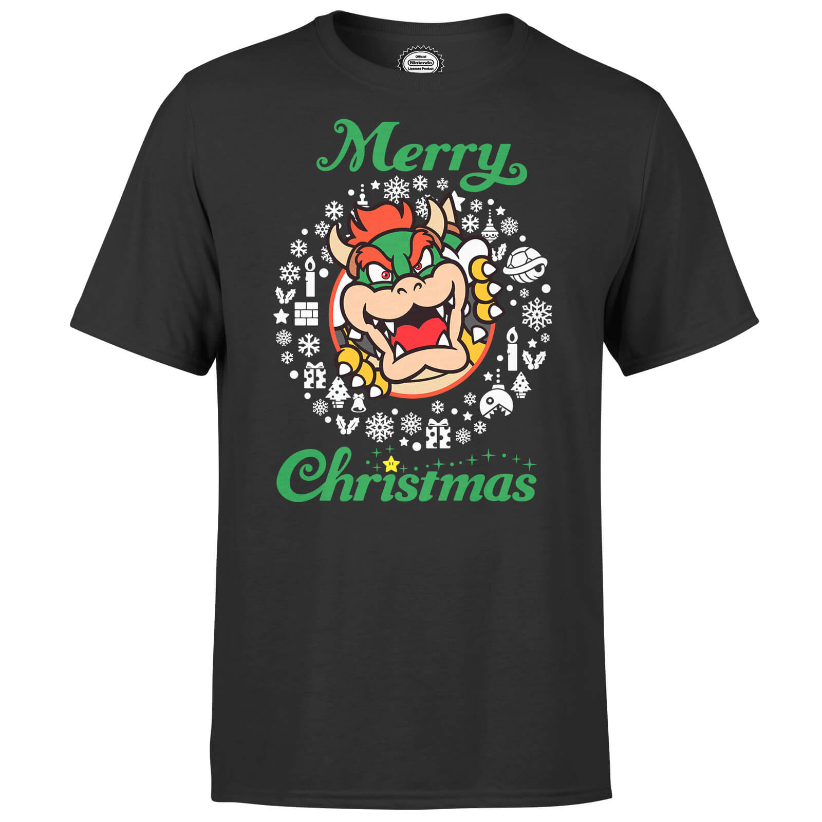 Nintendo Super Mario Bowser White Wreath Merry Christmas Black T-Shirt