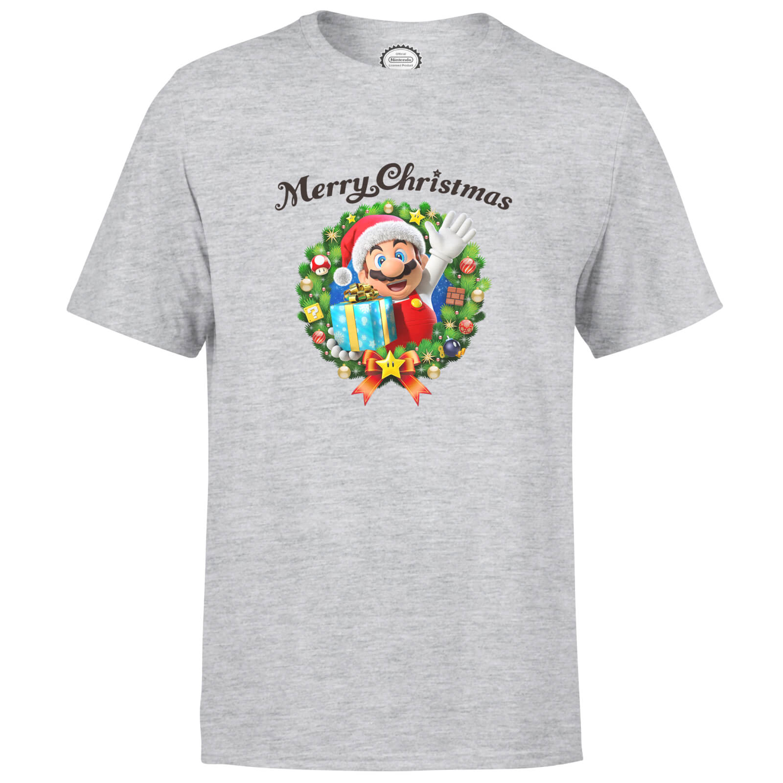 Nintendo Super Mario Mario Hat Merry Christmas Wreath Grey T-Shirt