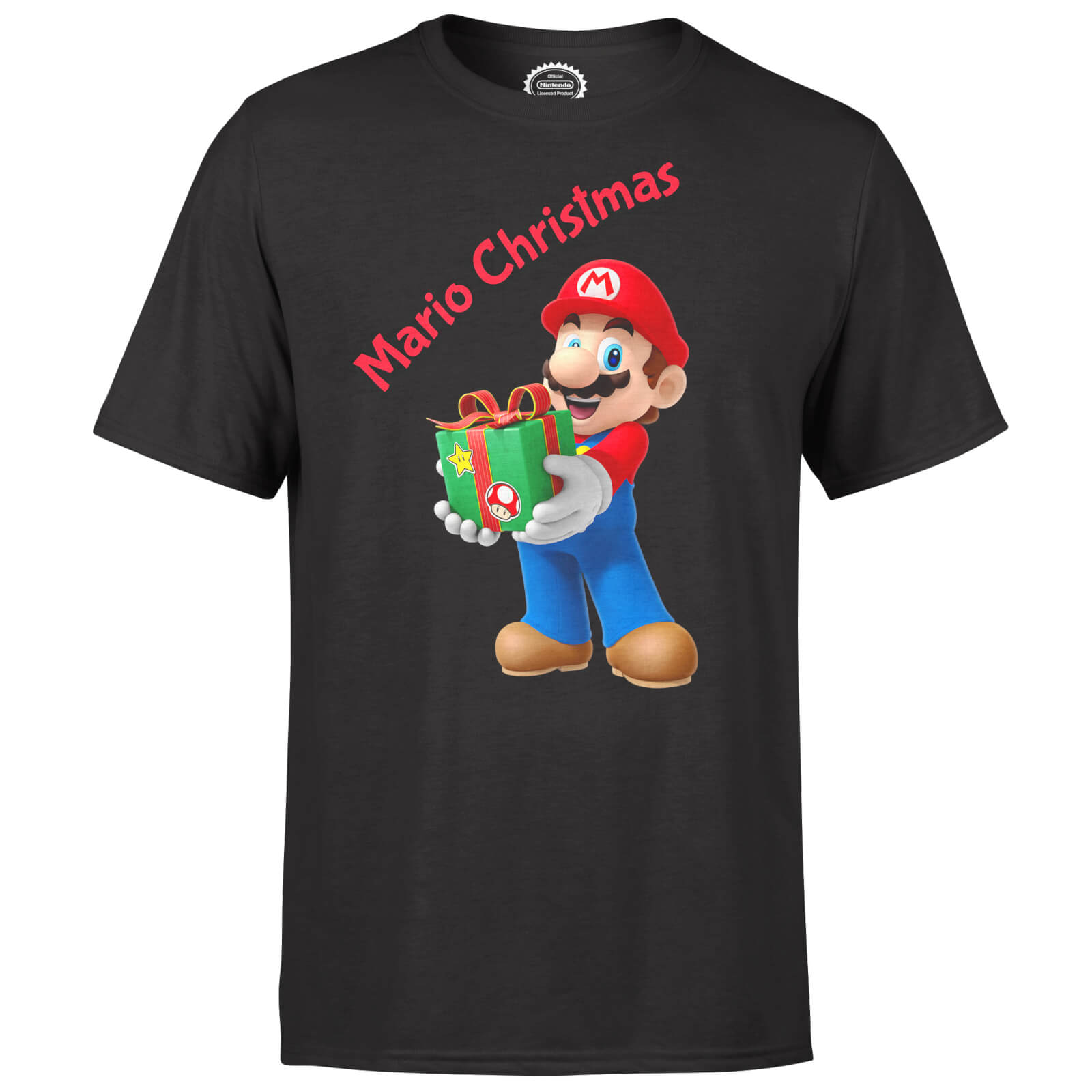 Nintendo Super Mario Mario Present Merry Christmas Black T-Shirt