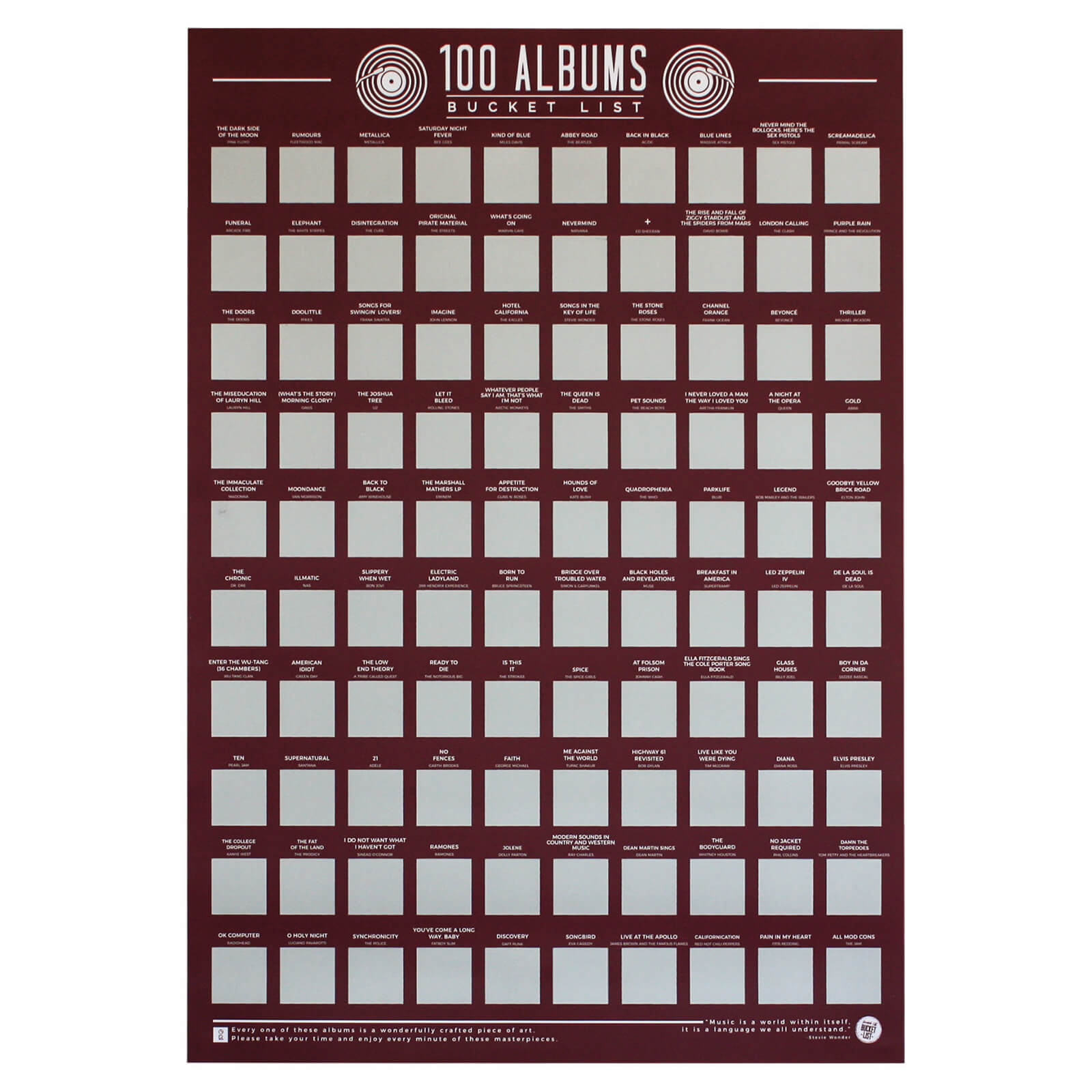 100 Albums Bucket List Poster