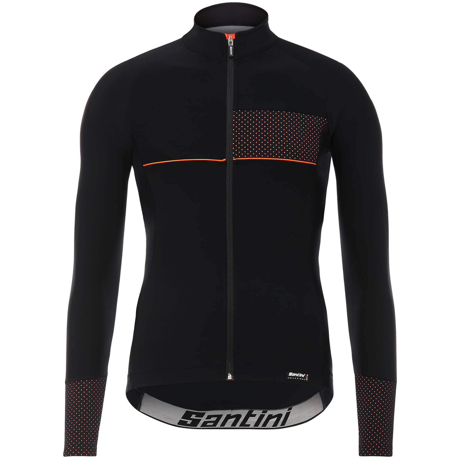 Santini Vega 2.0 Aquazero Long Sleeve Jersey - Black/Orange