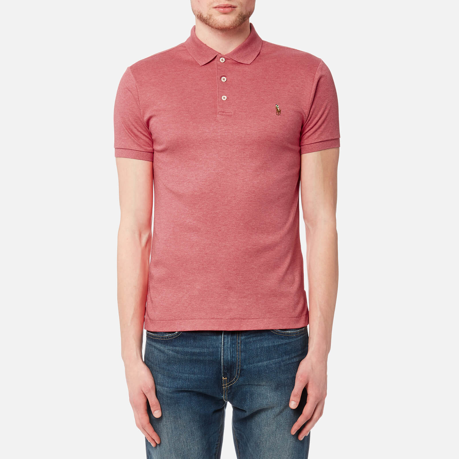 9a211eca Polo Ralph Lauren Men's Short Sleeve Pima Polo Shirt - Salmon Heather - Free  UK Delivery over £50