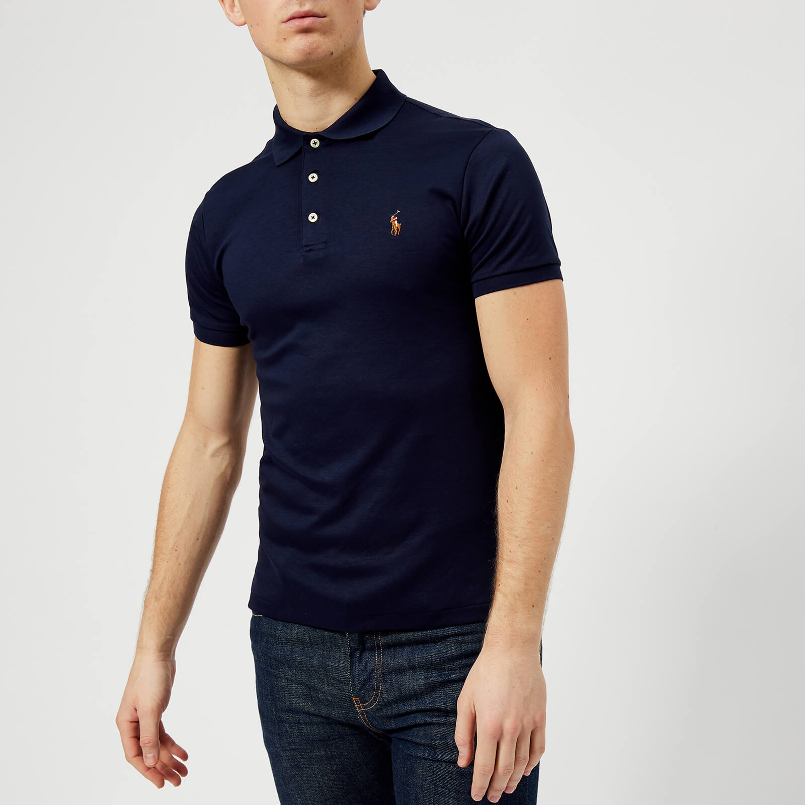 1bd81ee800acd Polo Ralph Lauren Men's Slim Fit Pima Polo Shirt - Navy - Free UK Delivery  over £50