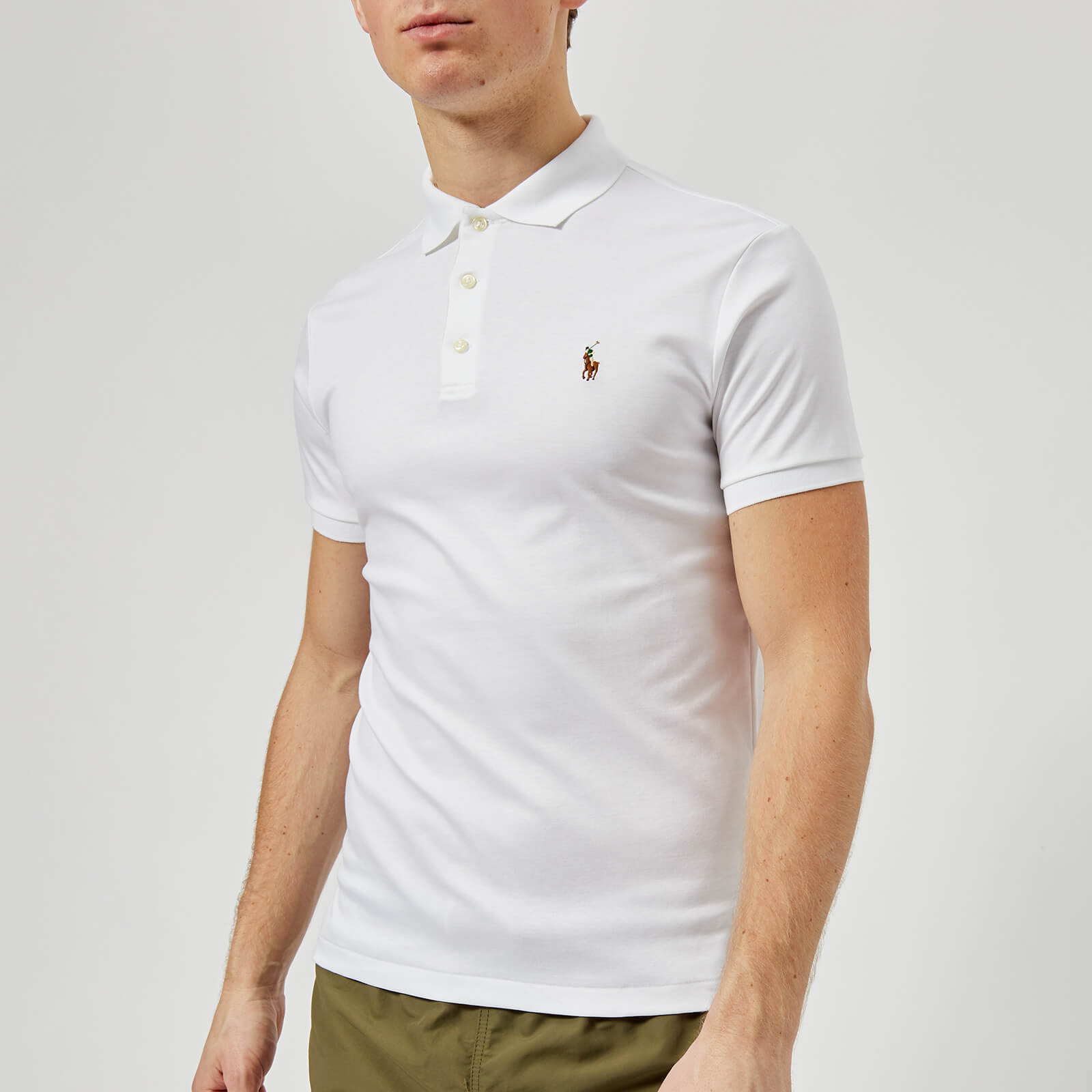 de084dc3 Polo Ralph Lauren Men's Slim Fit Pima Polo Shirt - White - Free UK Delivery  over £50
