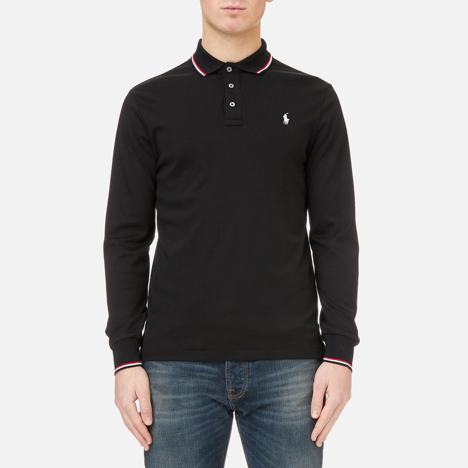 270bfd44 Polo Ralph Lauren Men's Long Sleeve Pima Tipped Polo Shirt - Black - Free  UK Delivery over £50