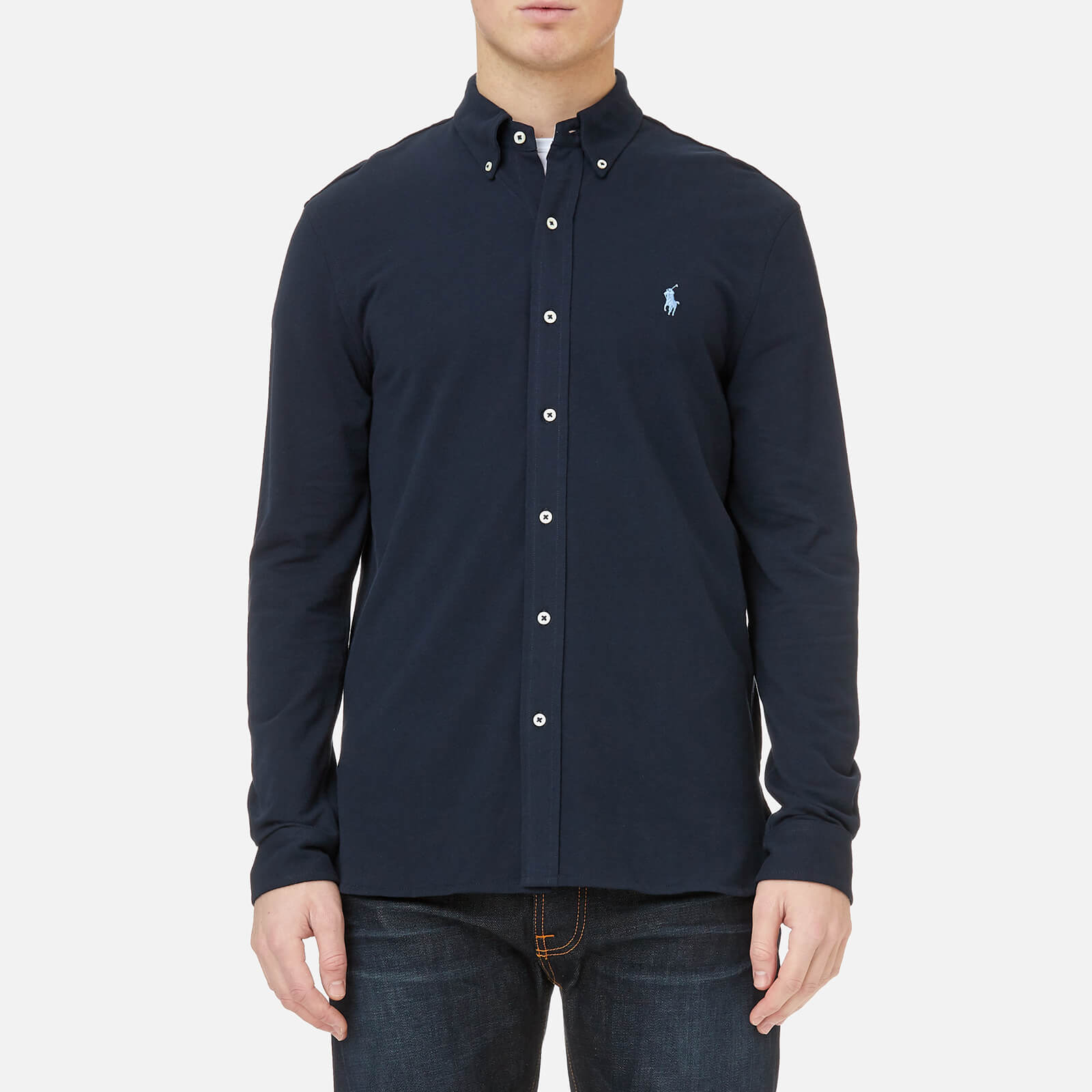 b67e56c9 Polo Ralph Lauren Men's Featherweight Mesh Long Sleeve Shirt - Aviator Navy  - Free UK Delivery over £50