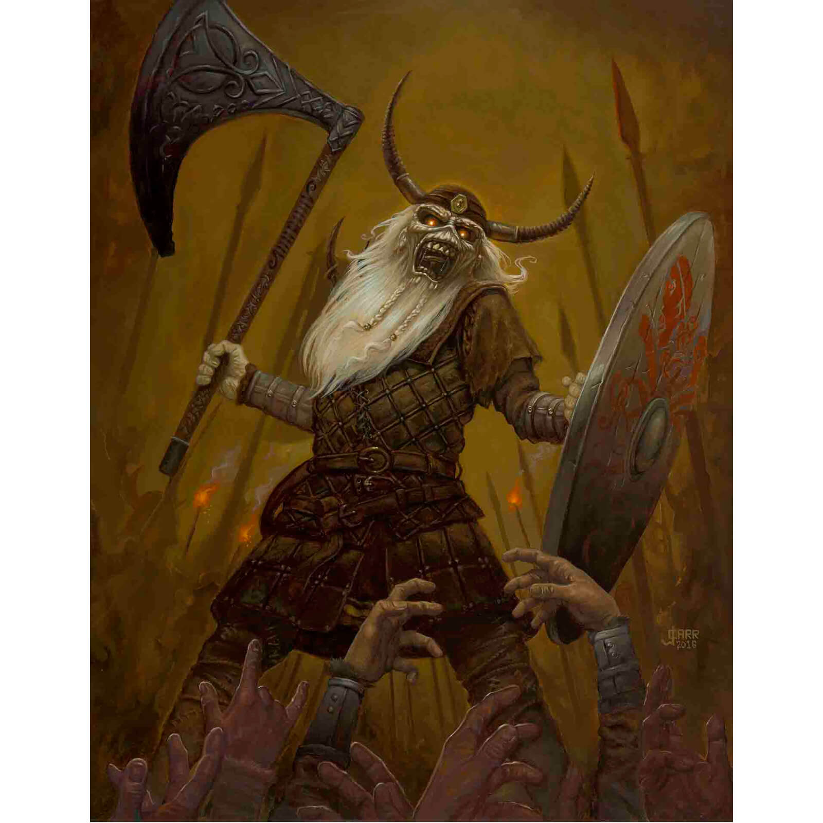 Iron Maiden Viking Eddie Lithograph by Acme Archives Artist Jaime Carrillo (16 x 20 Inch) Timed Sale - Zavvi UK Exclusive