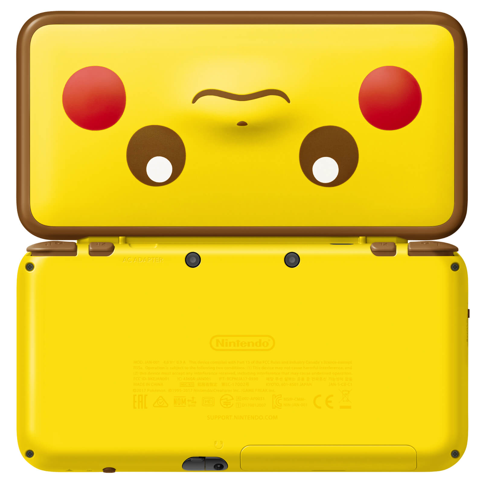 New Nintendo 2DS XL Pikachu Edition Back