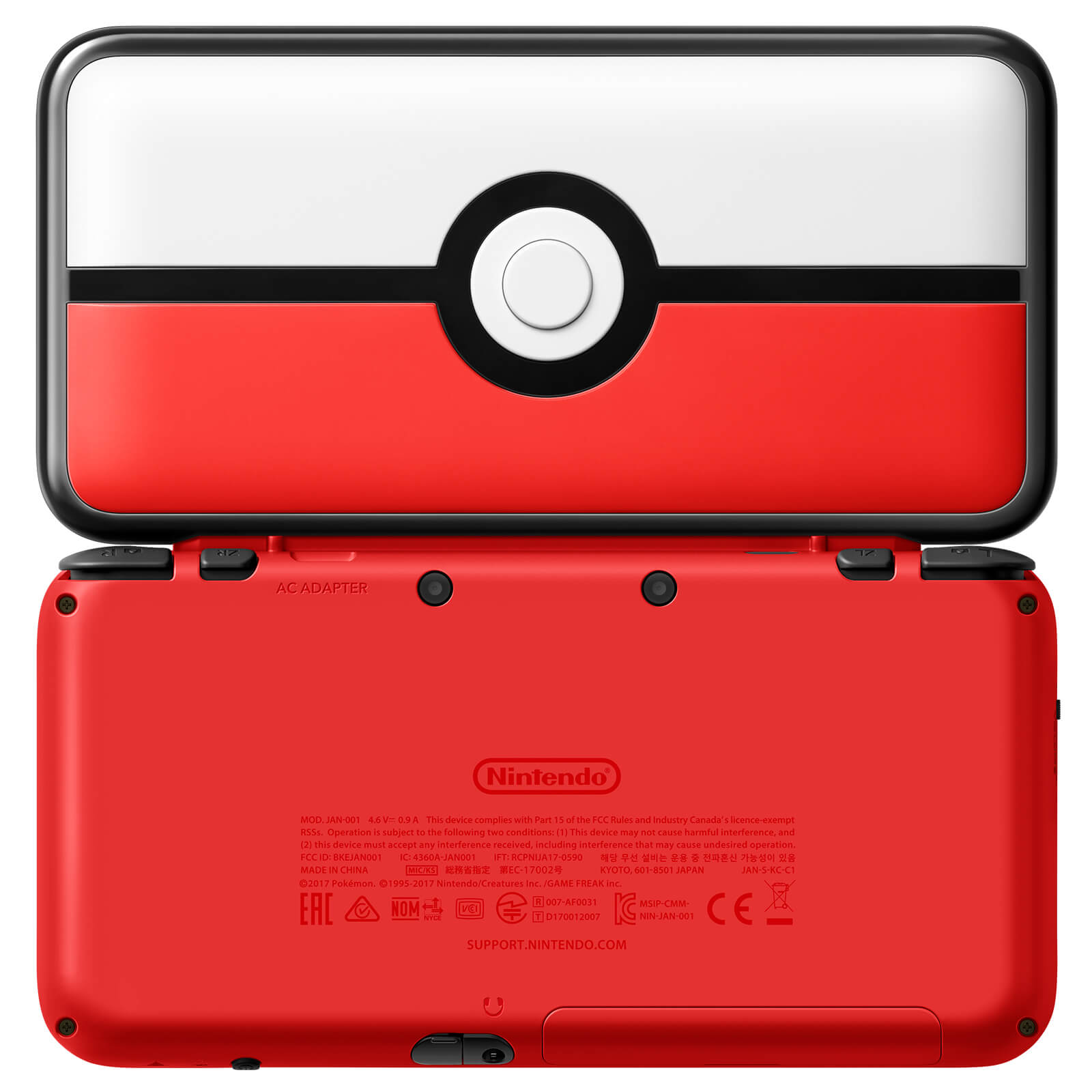 New Nintendo 2DS XL Pokéball Edition Back