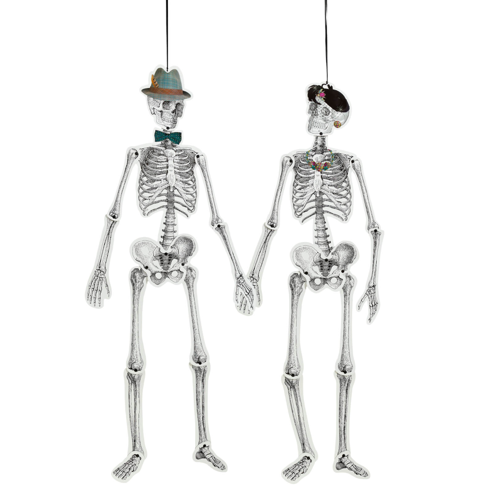 Skeleton Crew Mr. and Mrs. Bones Life Size Paper Skeletons