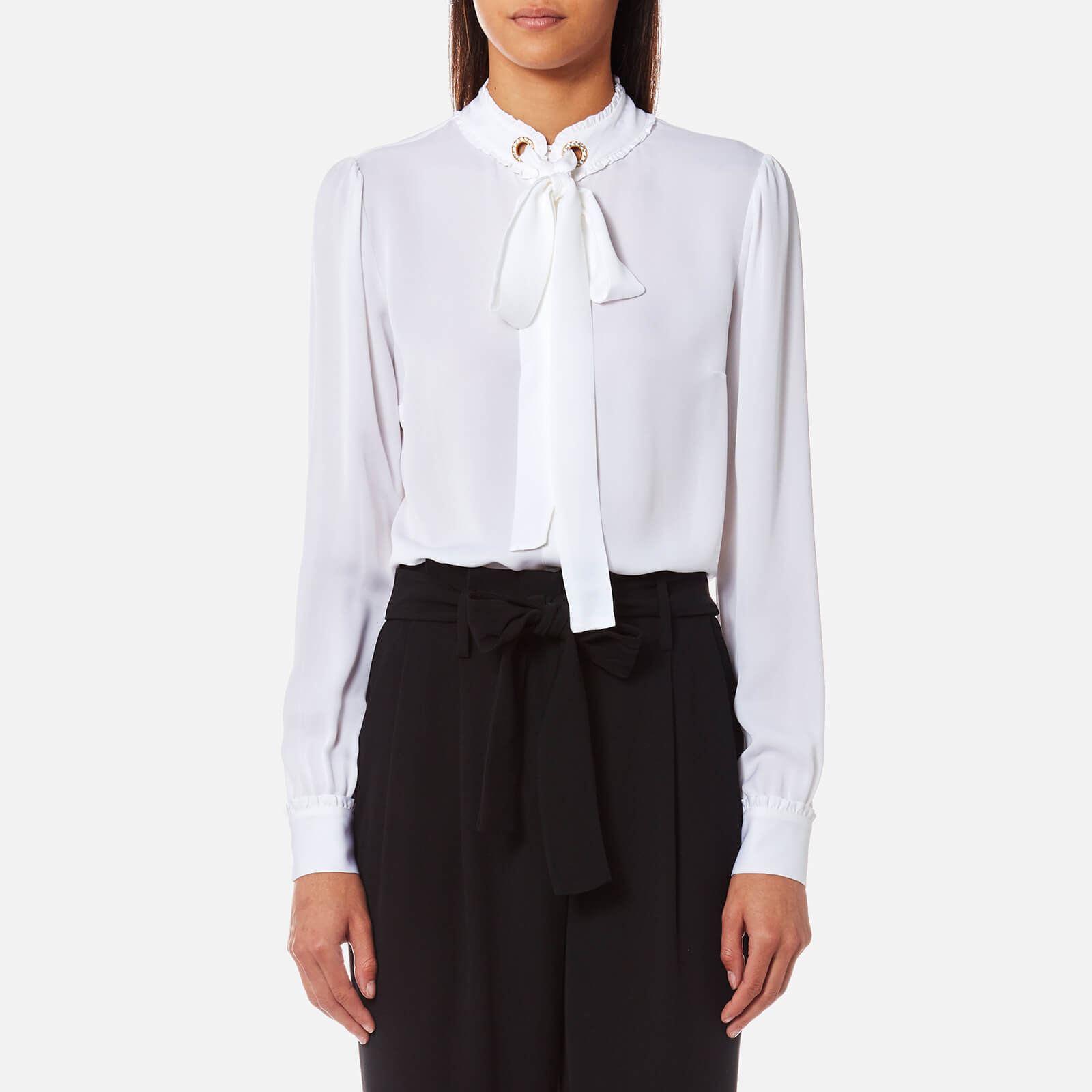 f0951d683ff95 MICHAEL MICHAEL KORS Women s Grommet Neck Tie Blouse - White - Free UK  Delivery over £50