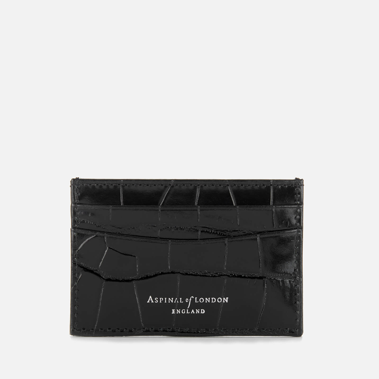 new concept 0a5c7 238ee Aspinal of London Women's Slim Croc Credit Card Case - Black