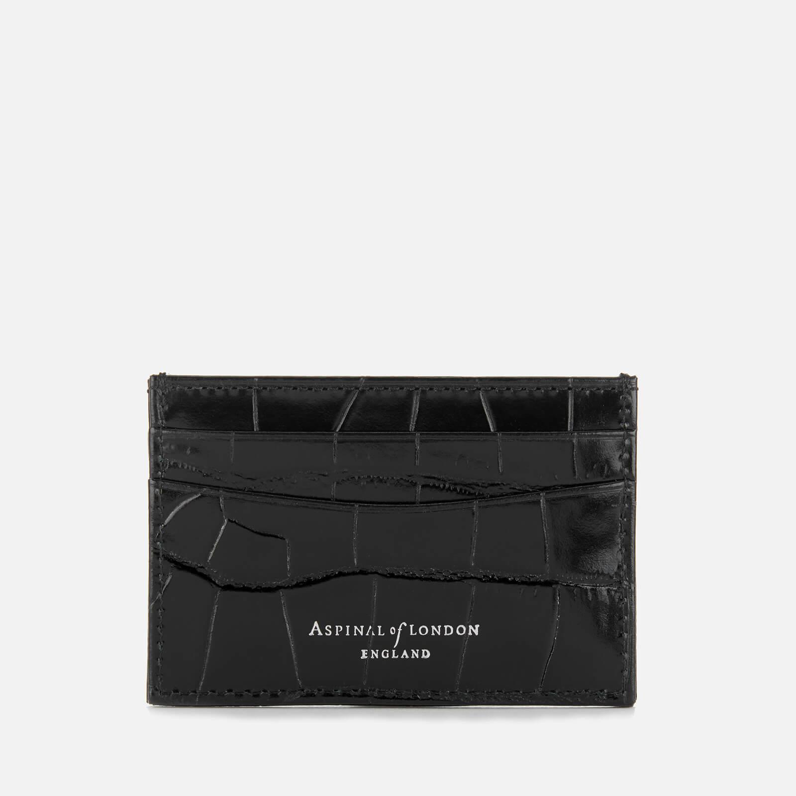 new concept 97e0c 3d8ad Aspinal of London Women's Slim Croc Credit Card Case - Black