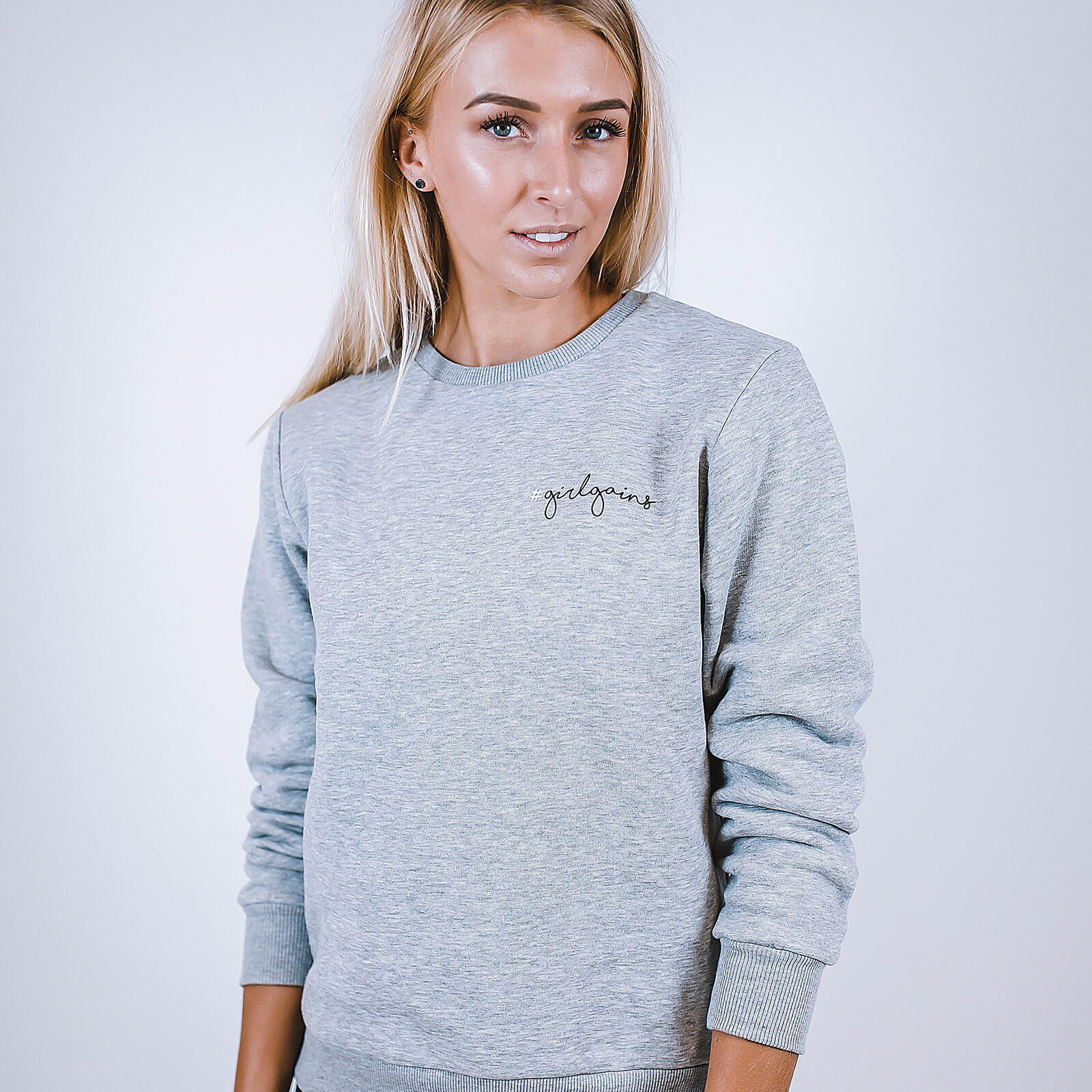 Girl Gains #GirlGains Sweatshirt - Grey