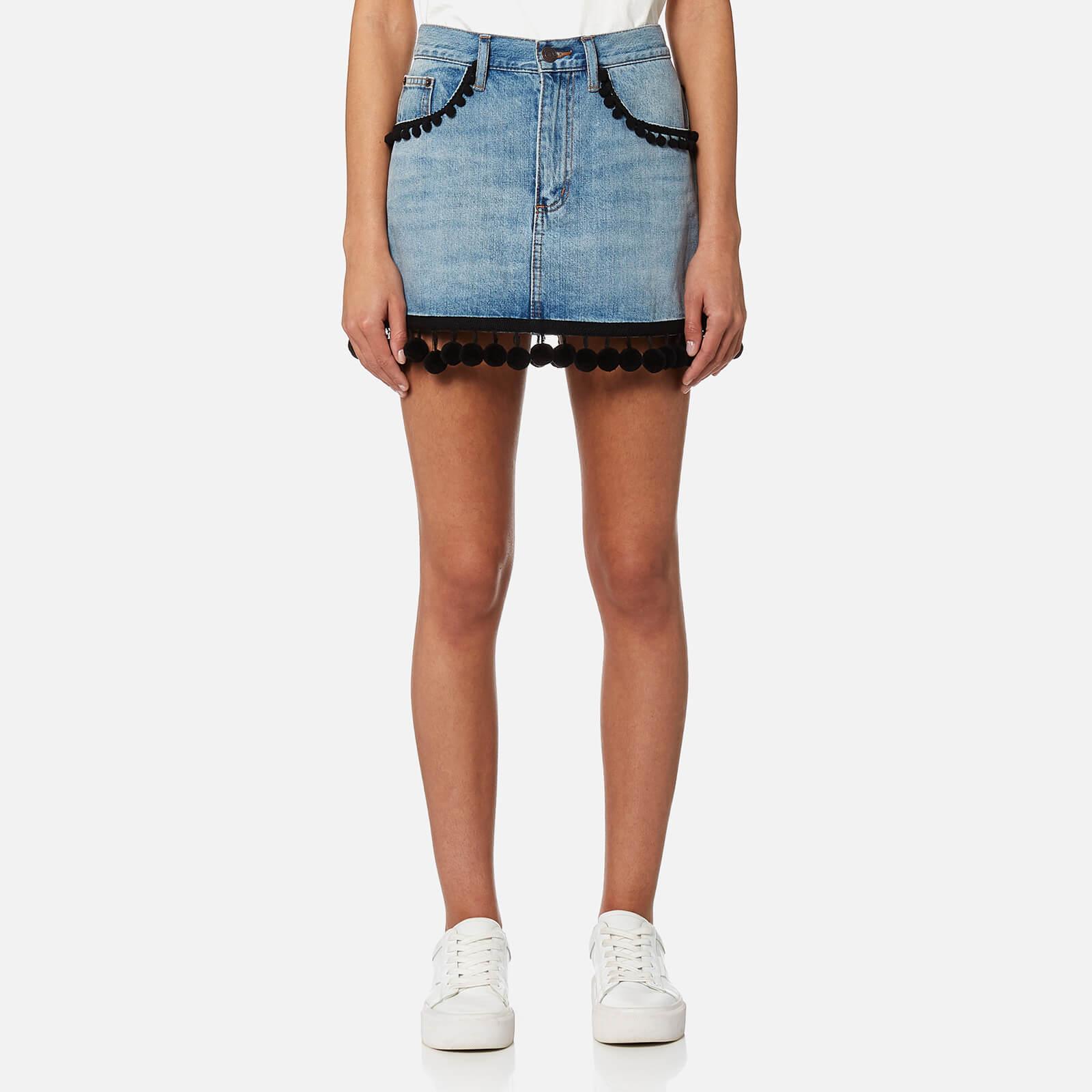 081439ac64 Marc Jacobs Women s Denim Mini Skirt with Pom Poms - Vintage Indigo - Free  UK Delivery over £50